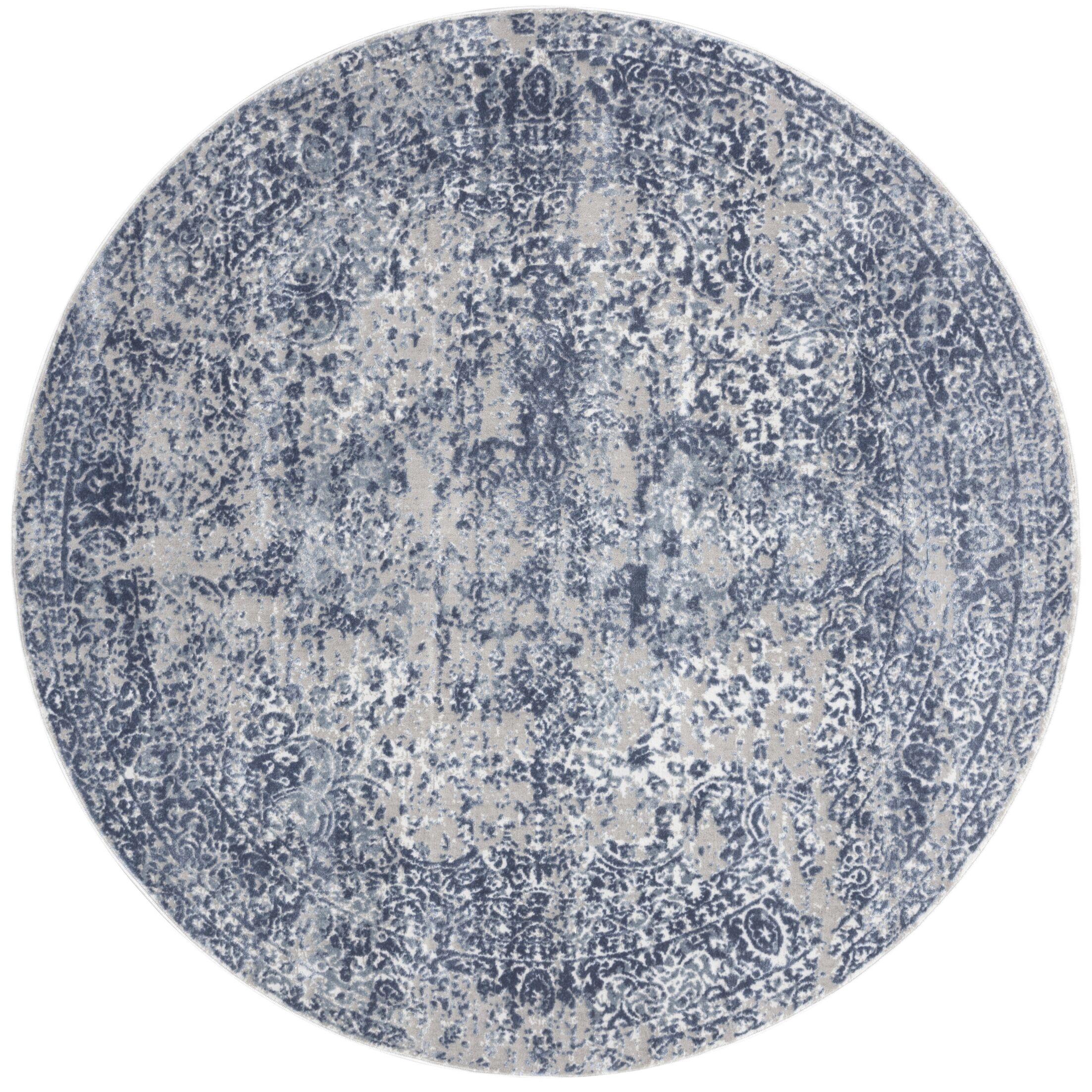 Jent Blue/Stone Area Rug Rug Size: Round 7'10