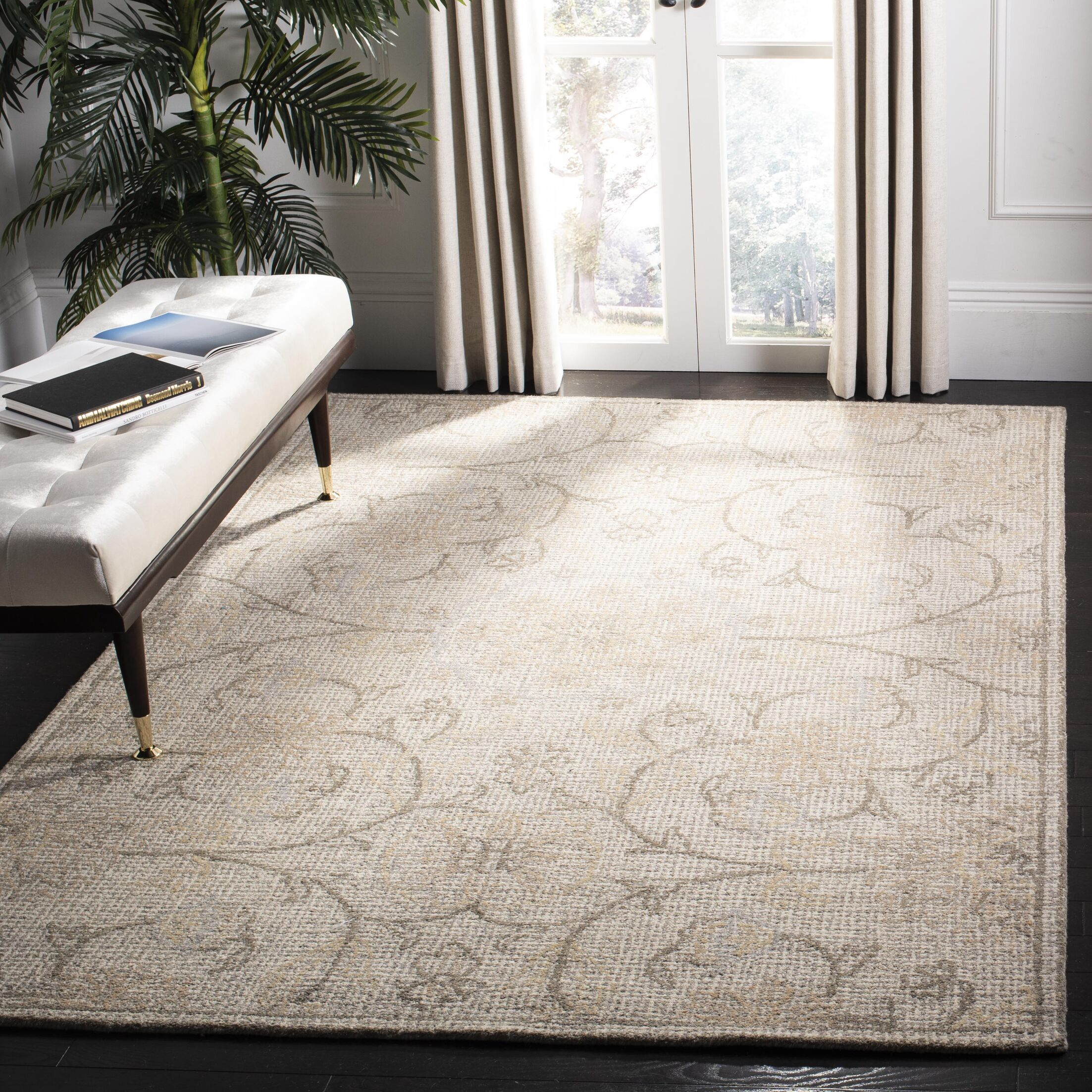 Sulema Hand-Tufted Wool Light Gray/Ivory Area Rug Rug Size: Rectangle 6' x 9'