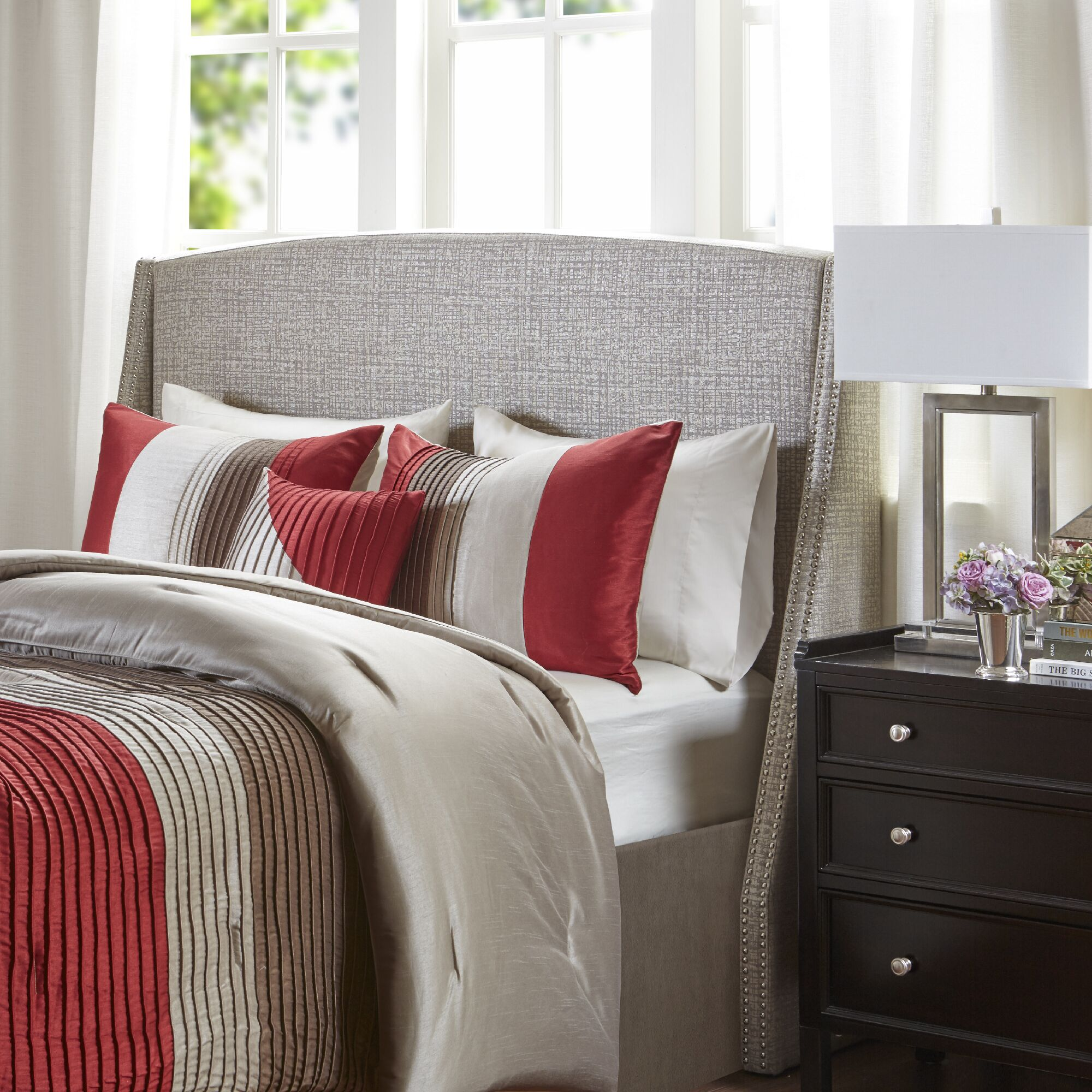 Sherell Upholstered Wingback Headboard Size: Queen