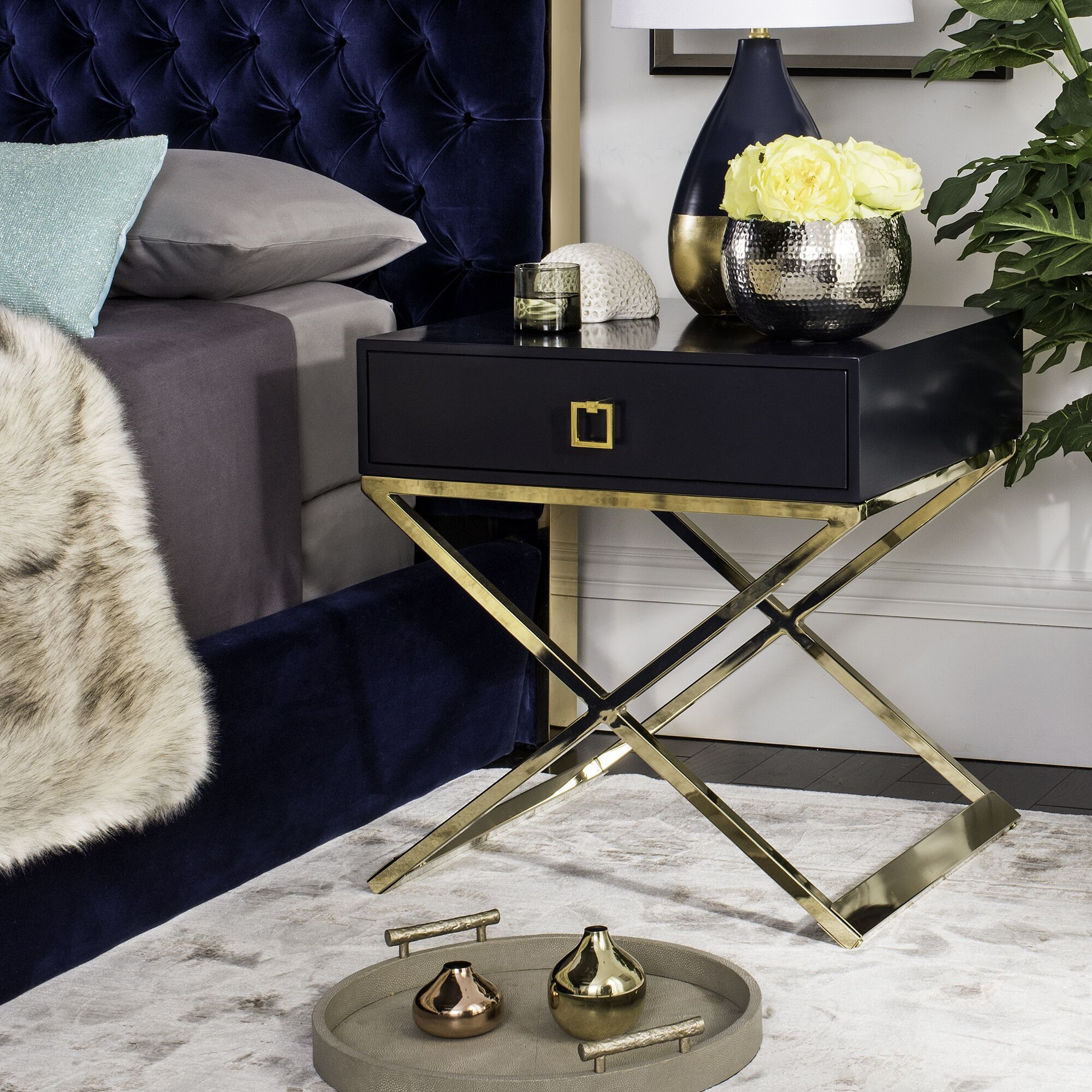 Mallen End Table With Storage Color: Navy