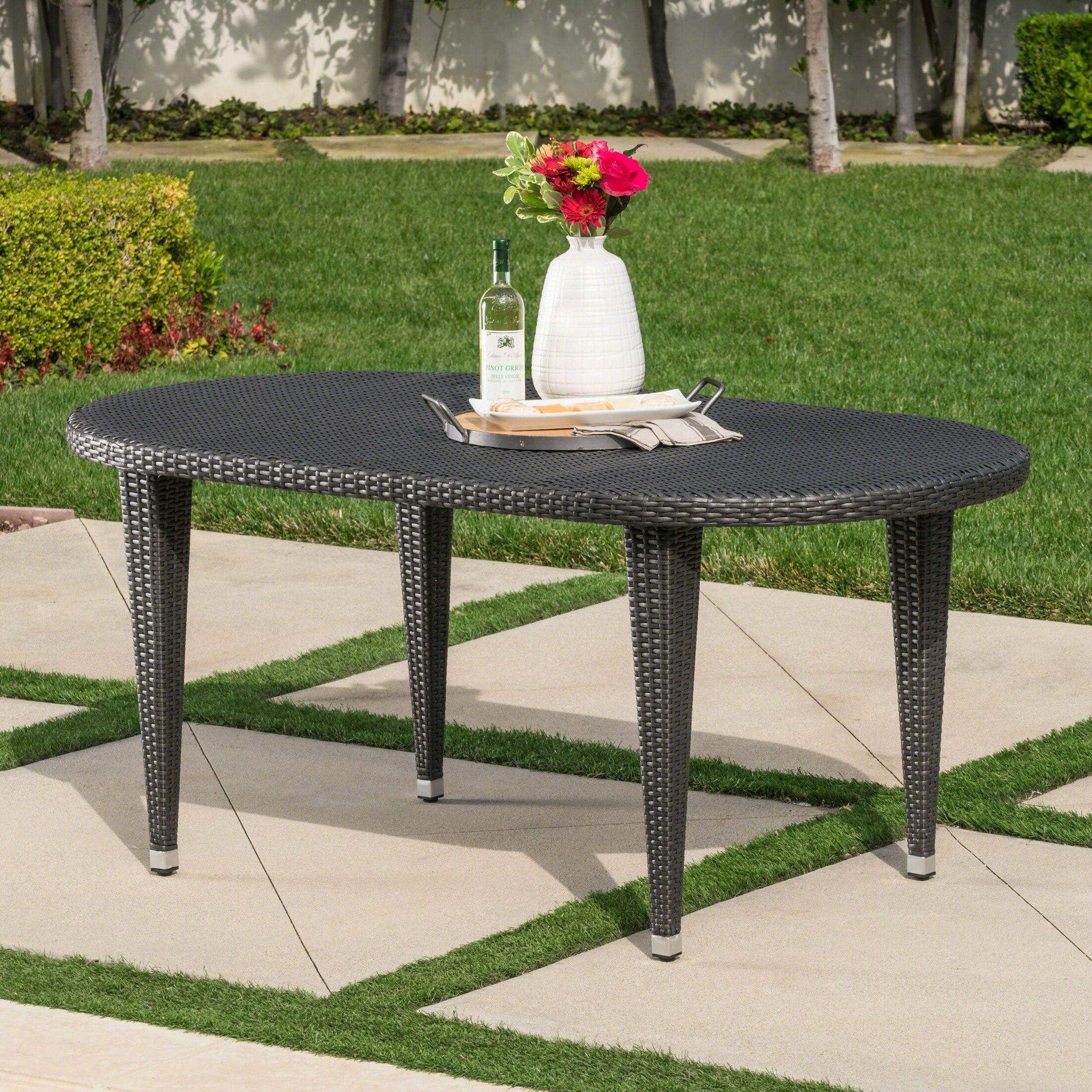 Gwendoline Outdoor Wicker Dining Table Color: Grey