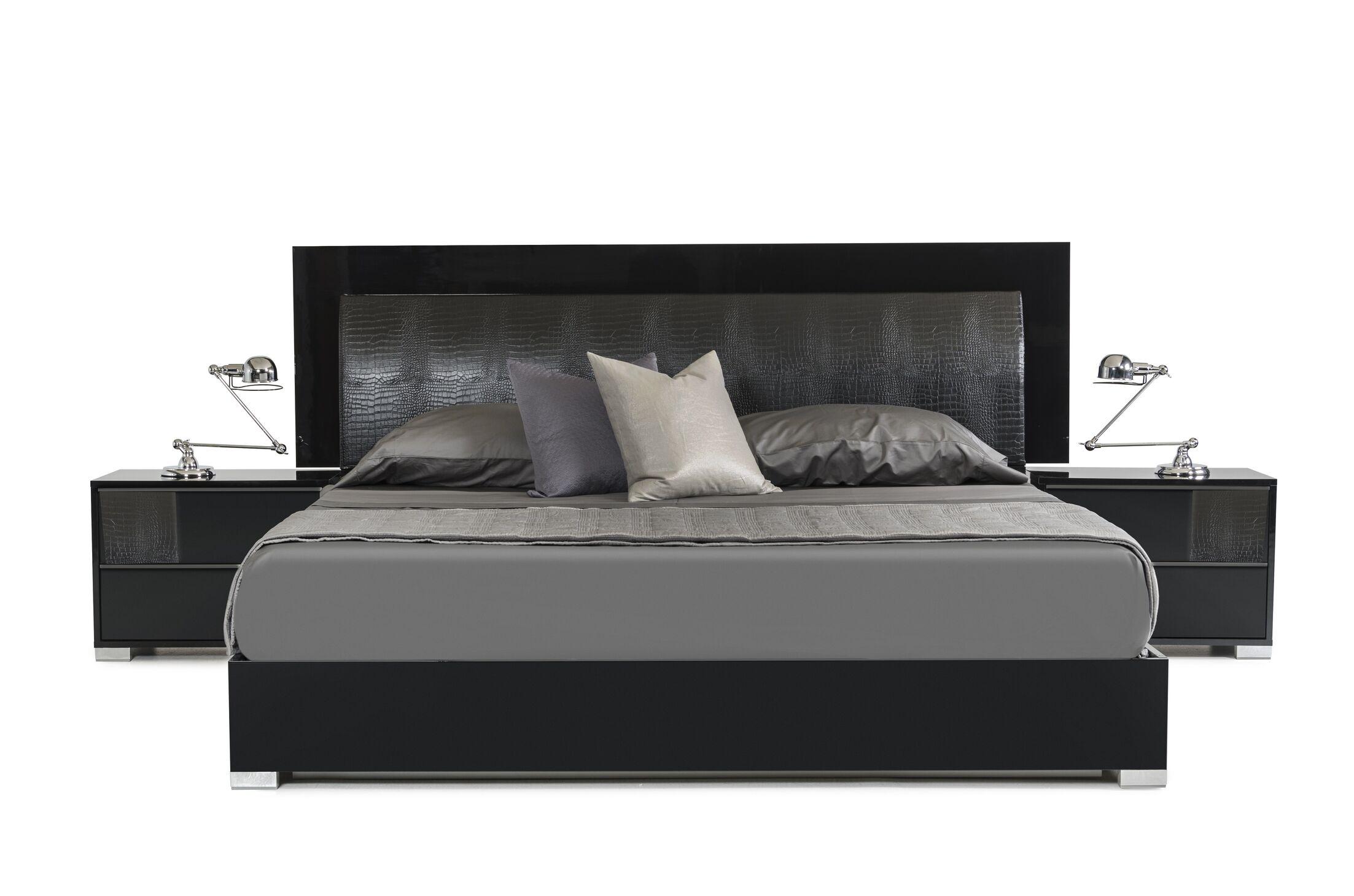 Dorinda�Upholstered Platform Bed Color: Black, Size: Eastern King