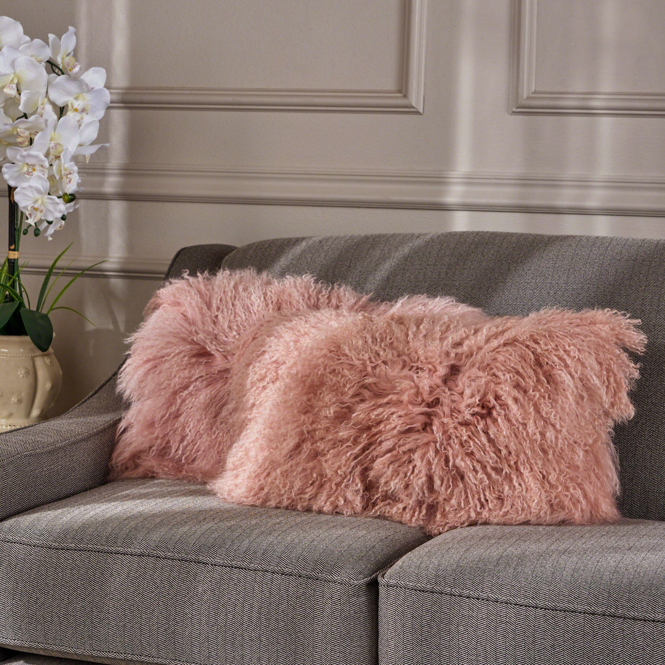 Kingstowne Fur Lumbar Pillow Color: Rose