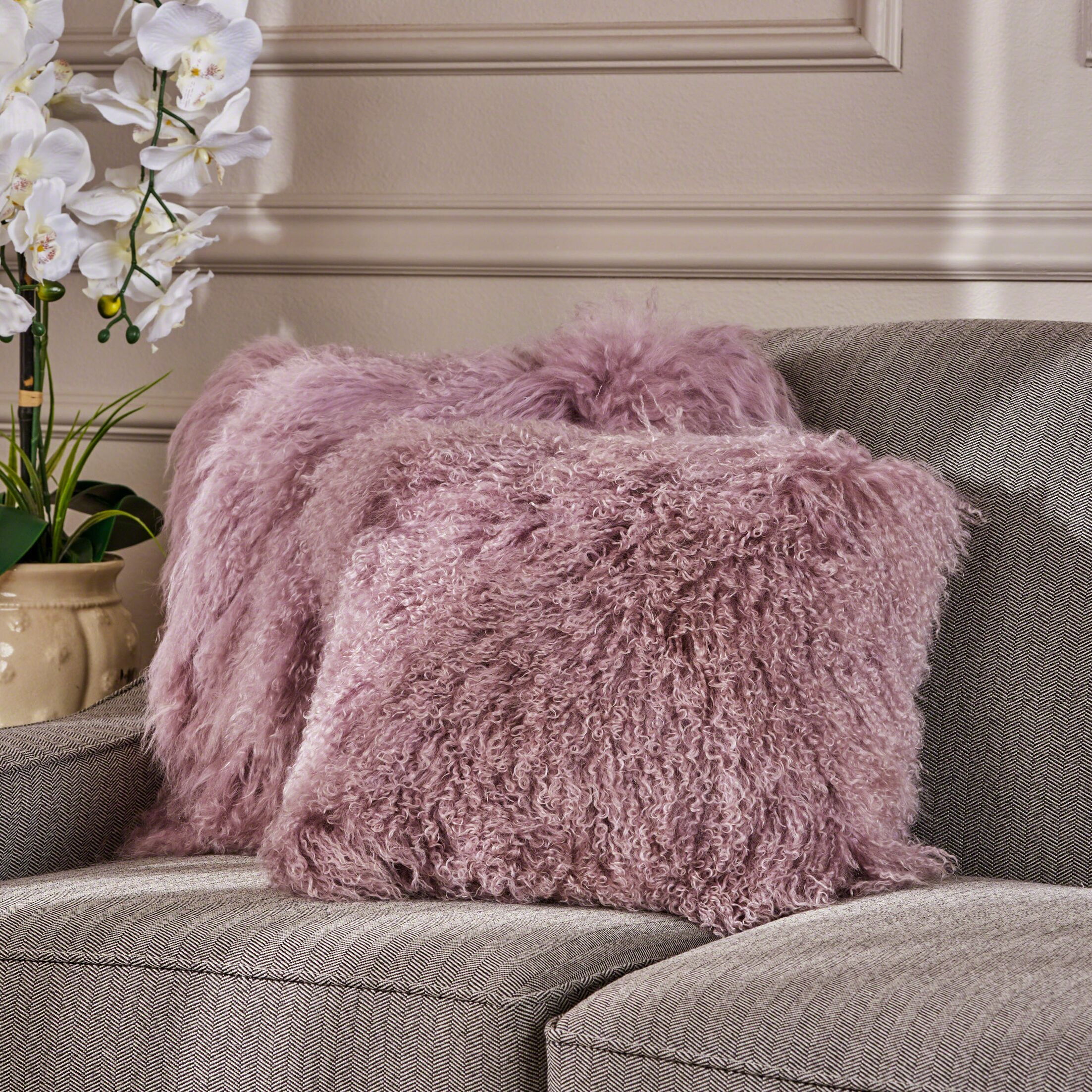 Kingstowne Shaggy Lamb Fur Throw Pillow Color: Light Purple, Size: 16