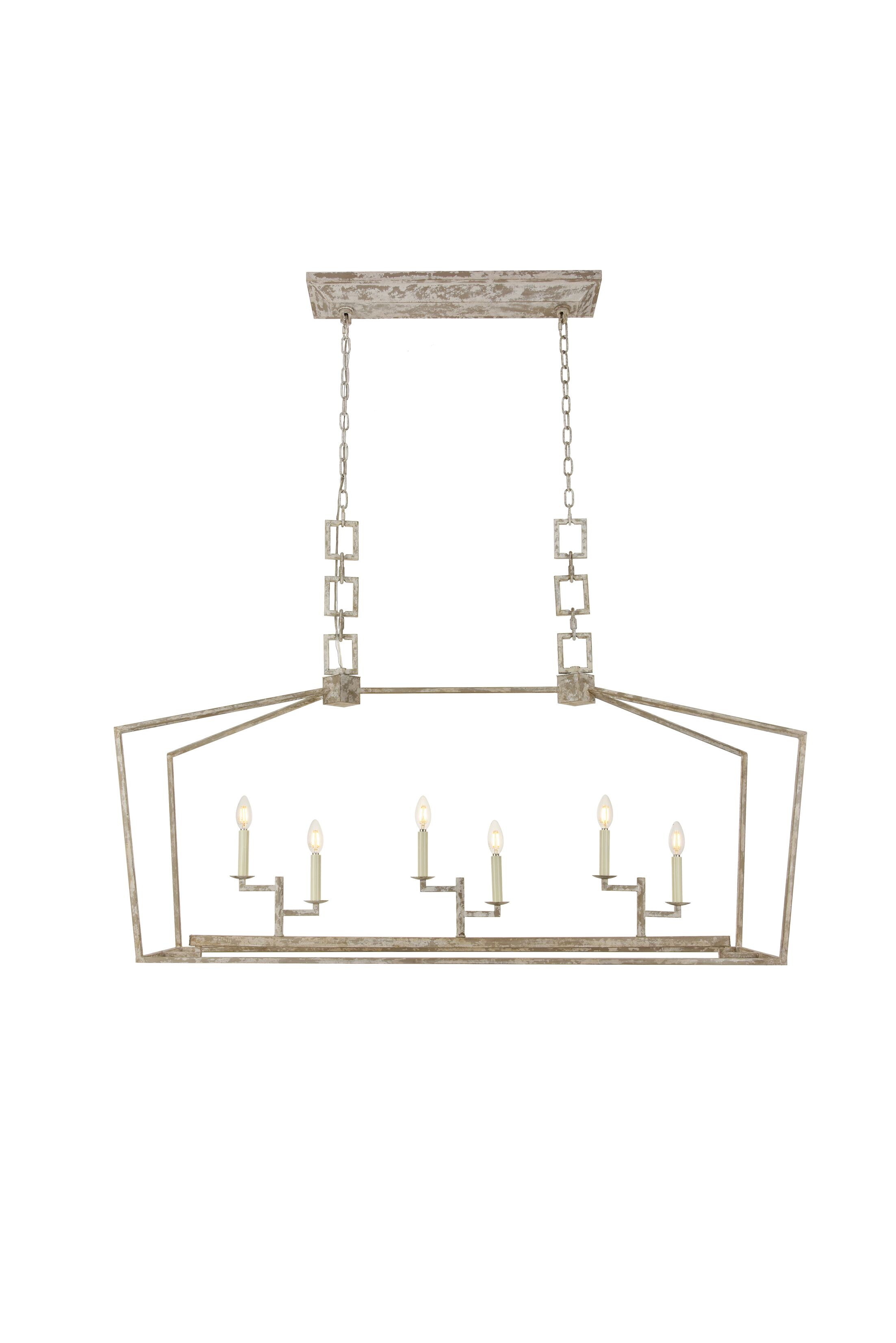 Isoline 6-Light Kitchen Island Pendant Finish: Ivory Wash