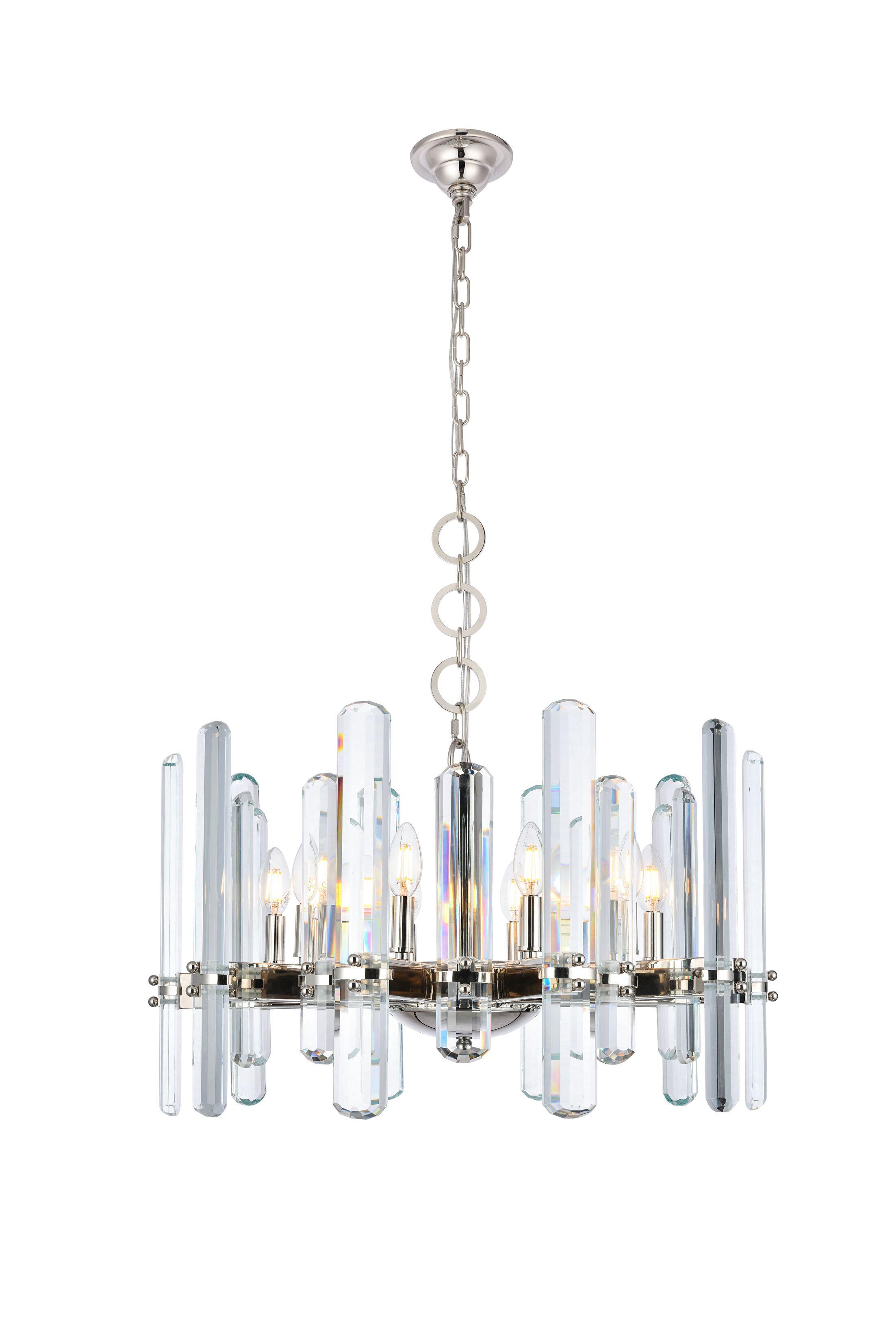 Raelene 10-Light Candle Style Chandelier Finish: Polished Nickel, Size: 88.97