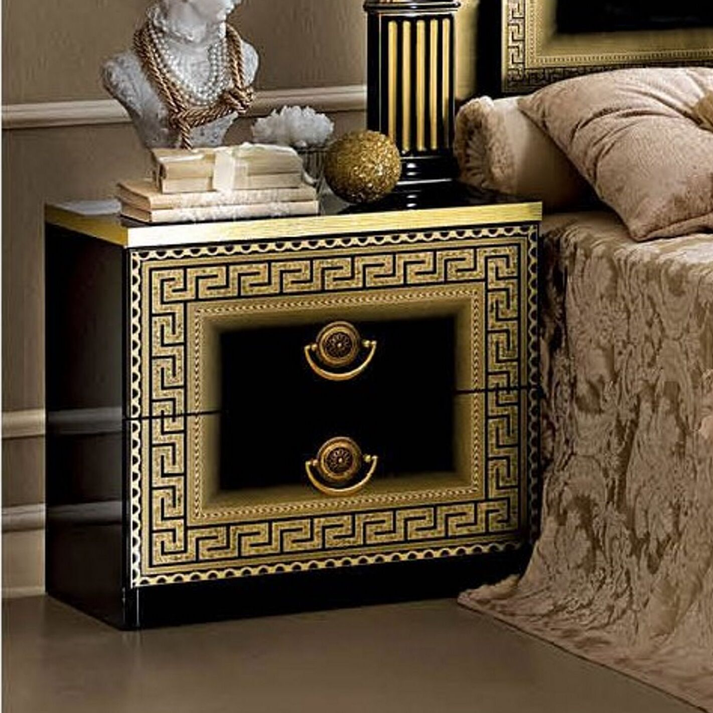 Albury 2 Drawer Nightstand Color: Black/Gold