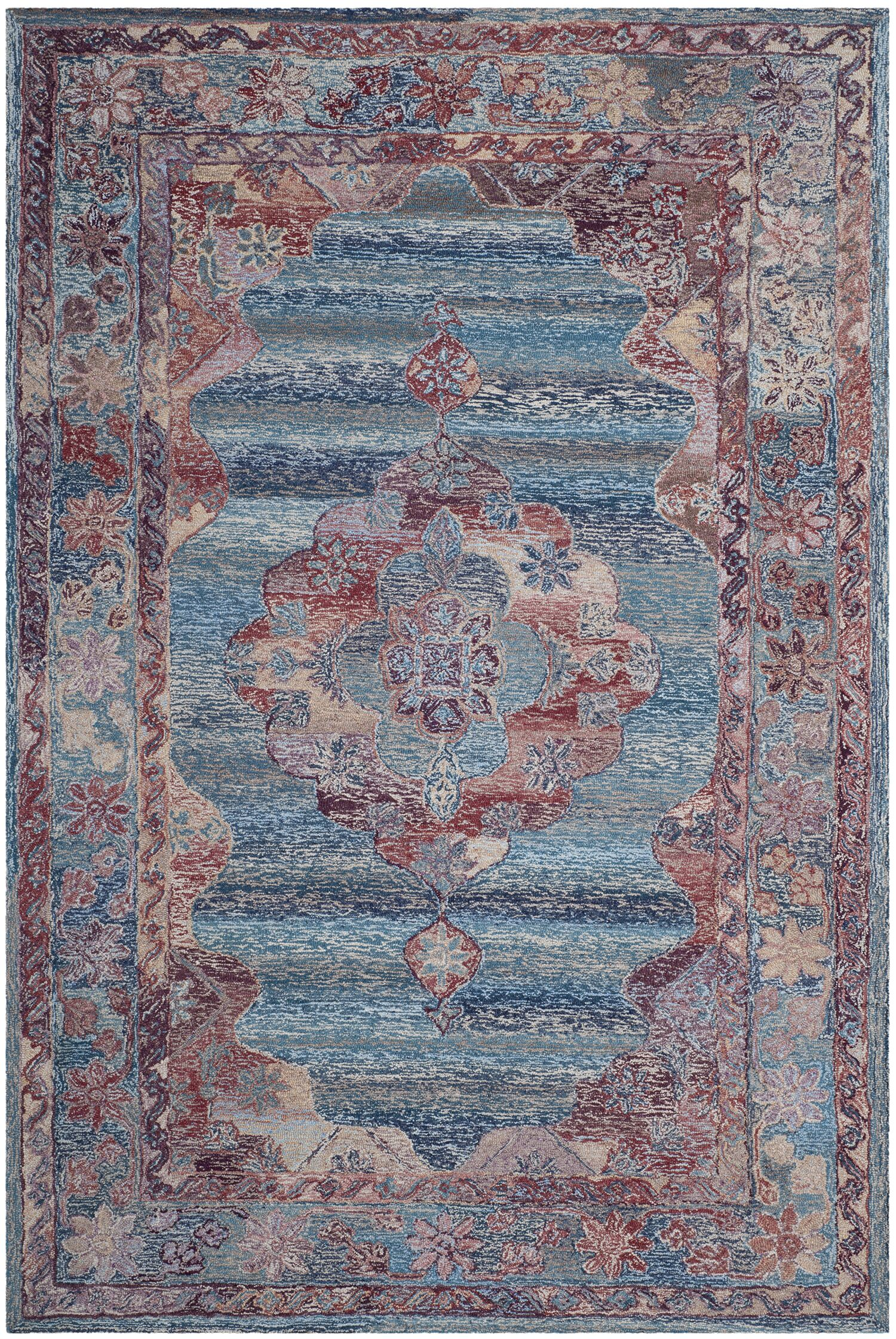 Emily Hand-Tufted Blue Area Rug Rug Size: Rectangle 6' x 9'