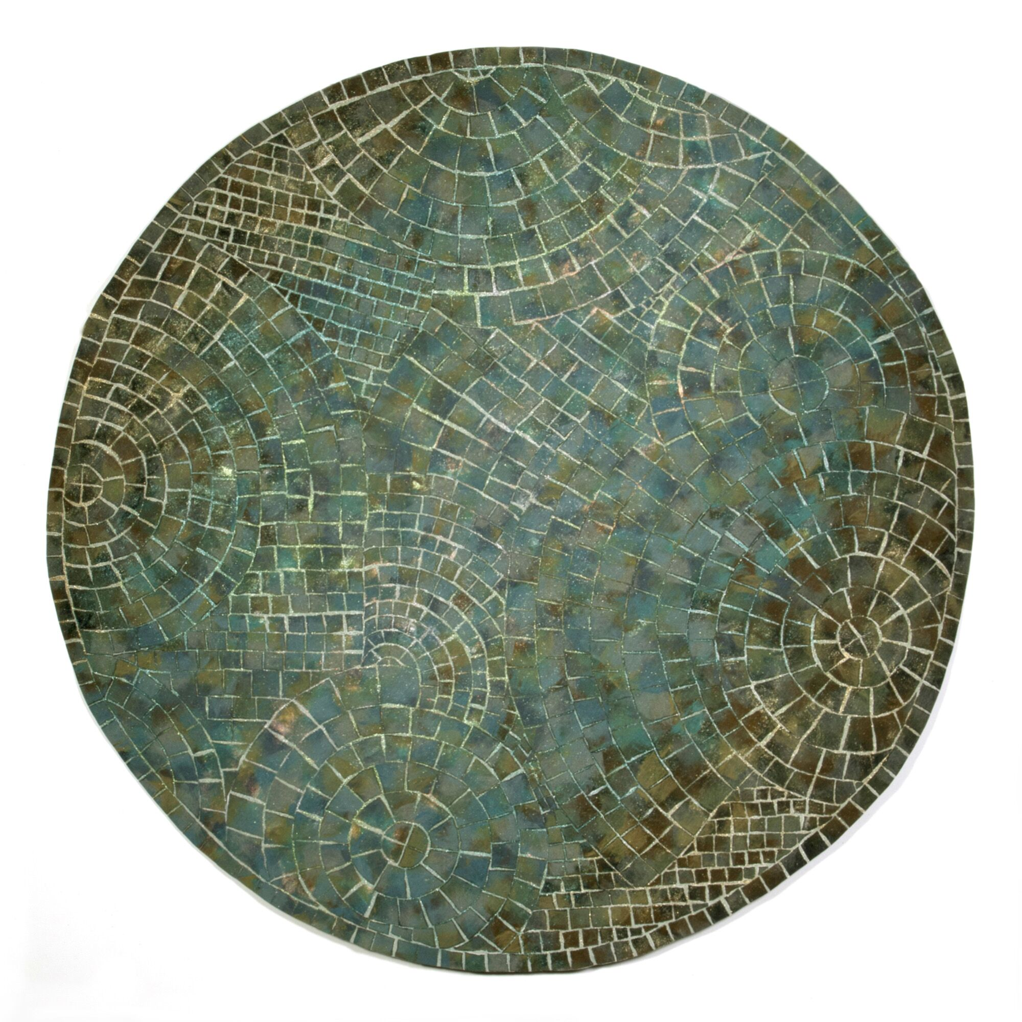 Alline Arch Tile Blue Area Rug Rug Size: Round 8'