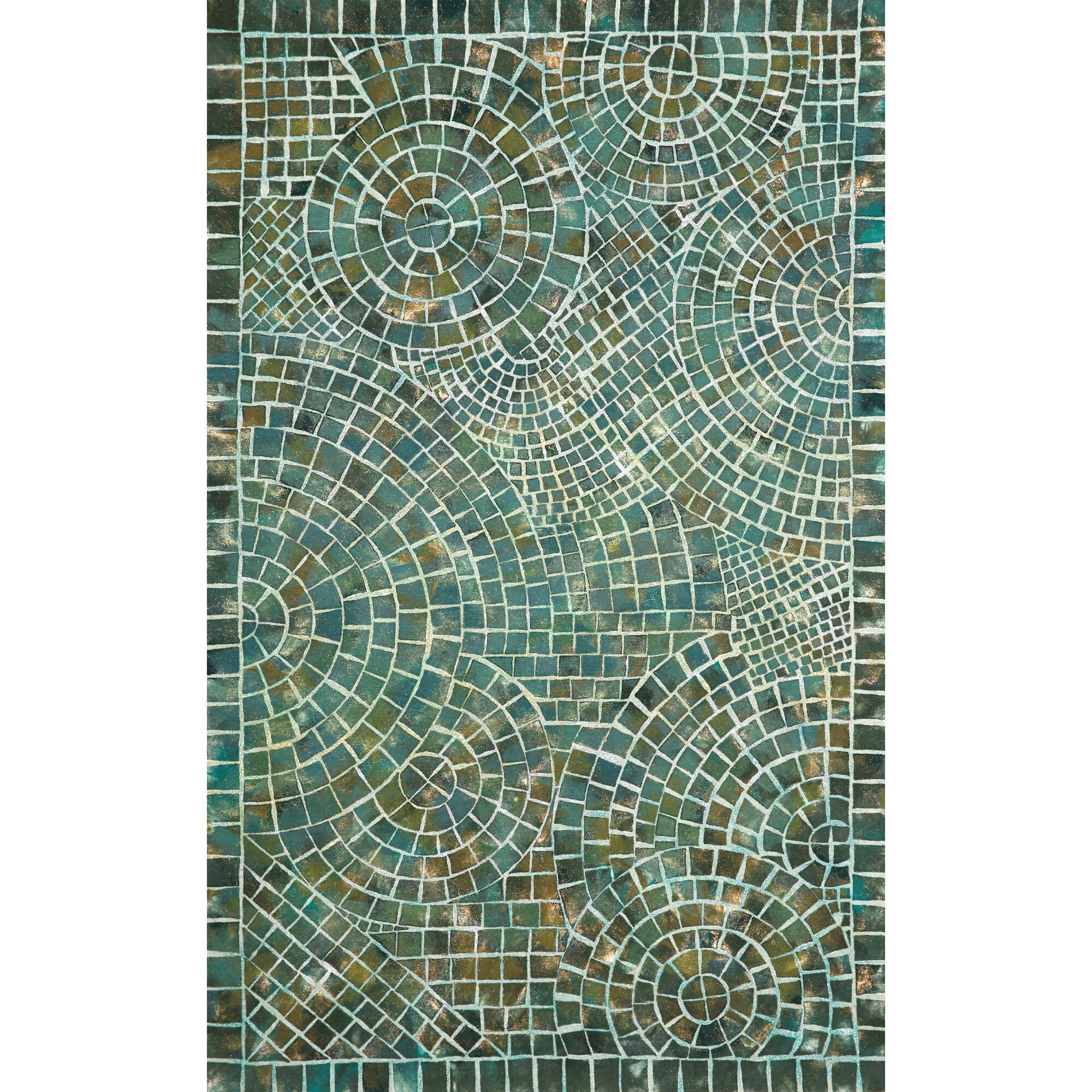 Alline Arch Tile Blue Area Rug Rug Size: Rectangle 8' x 10'