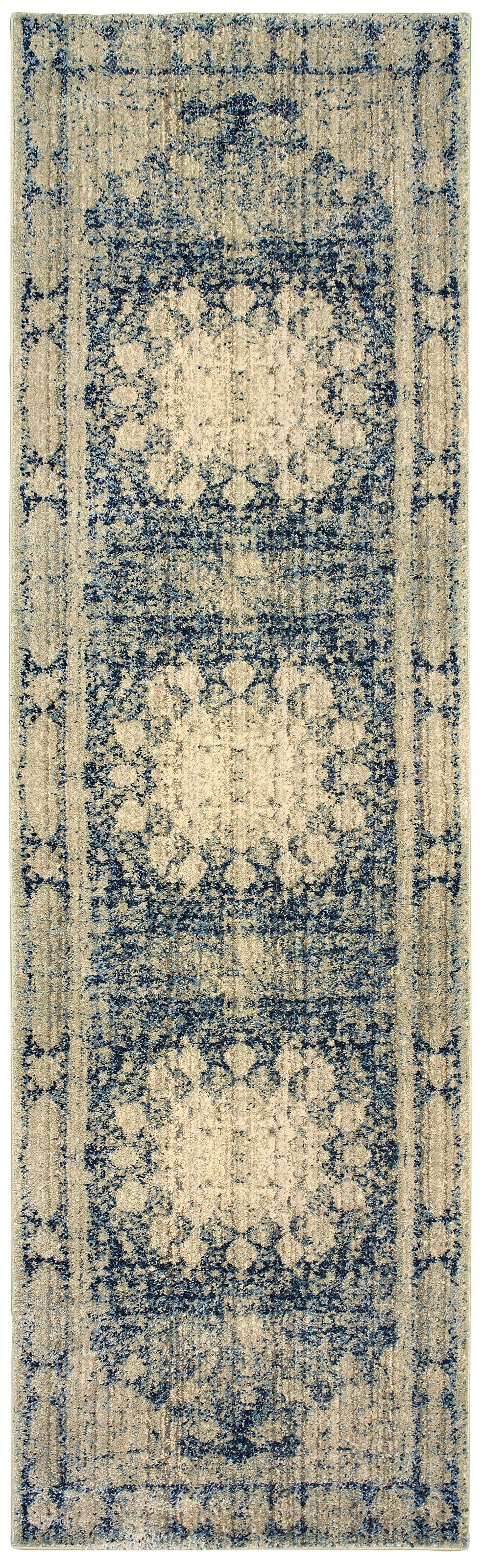 Quenby Floral Ivory/Blue Area Rug Rug Size: Runner 2'3
