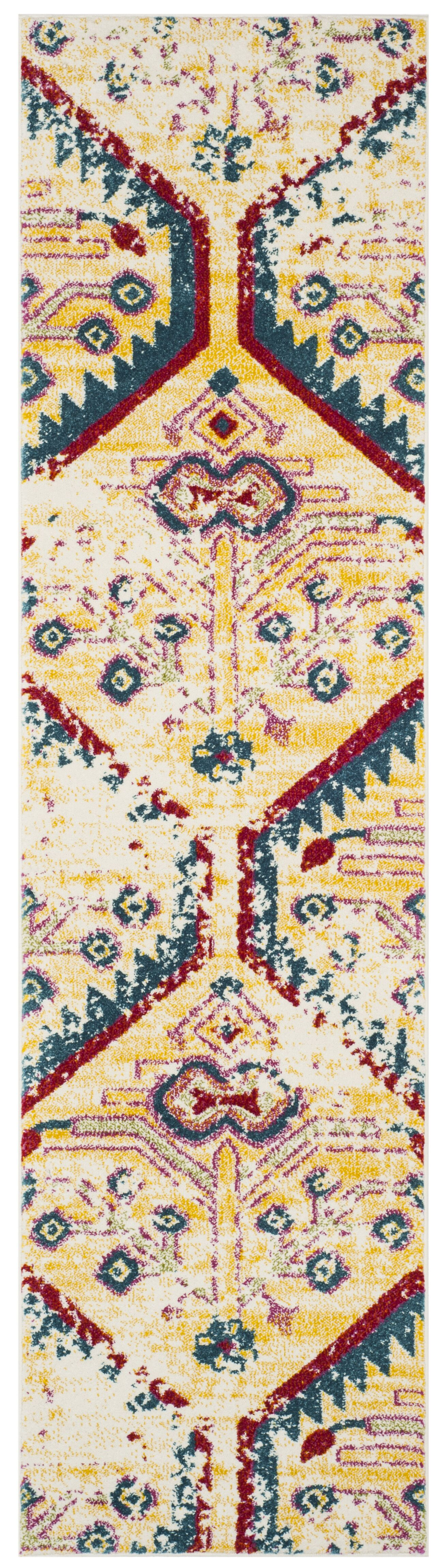 Hampstead Yellow/Blue Indoor Area Rug Rug Size: Runner 2'2