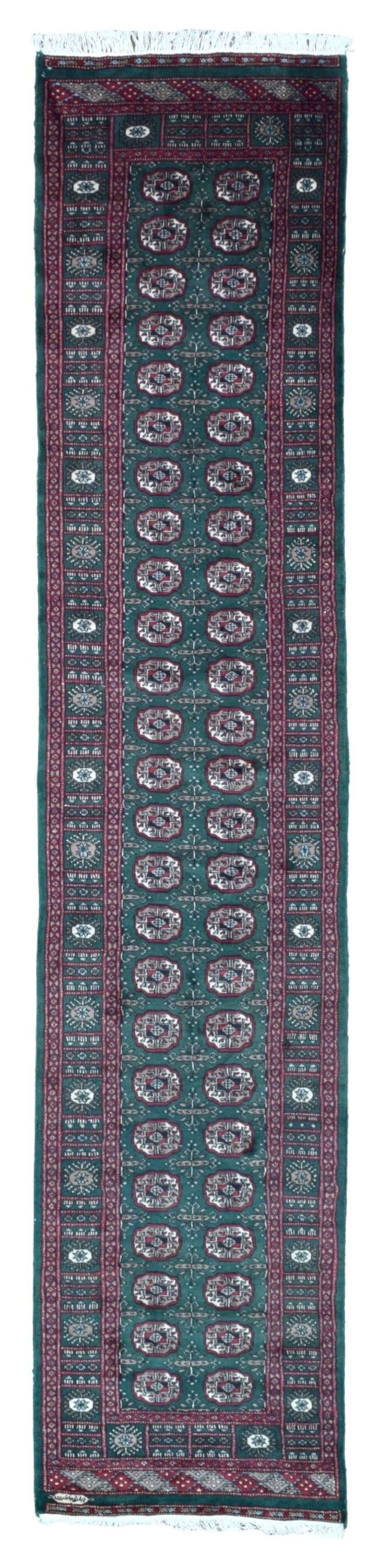 One-of-a-Kind Ewan Oriental Hand-Woven Wool Green/Red Area Rug