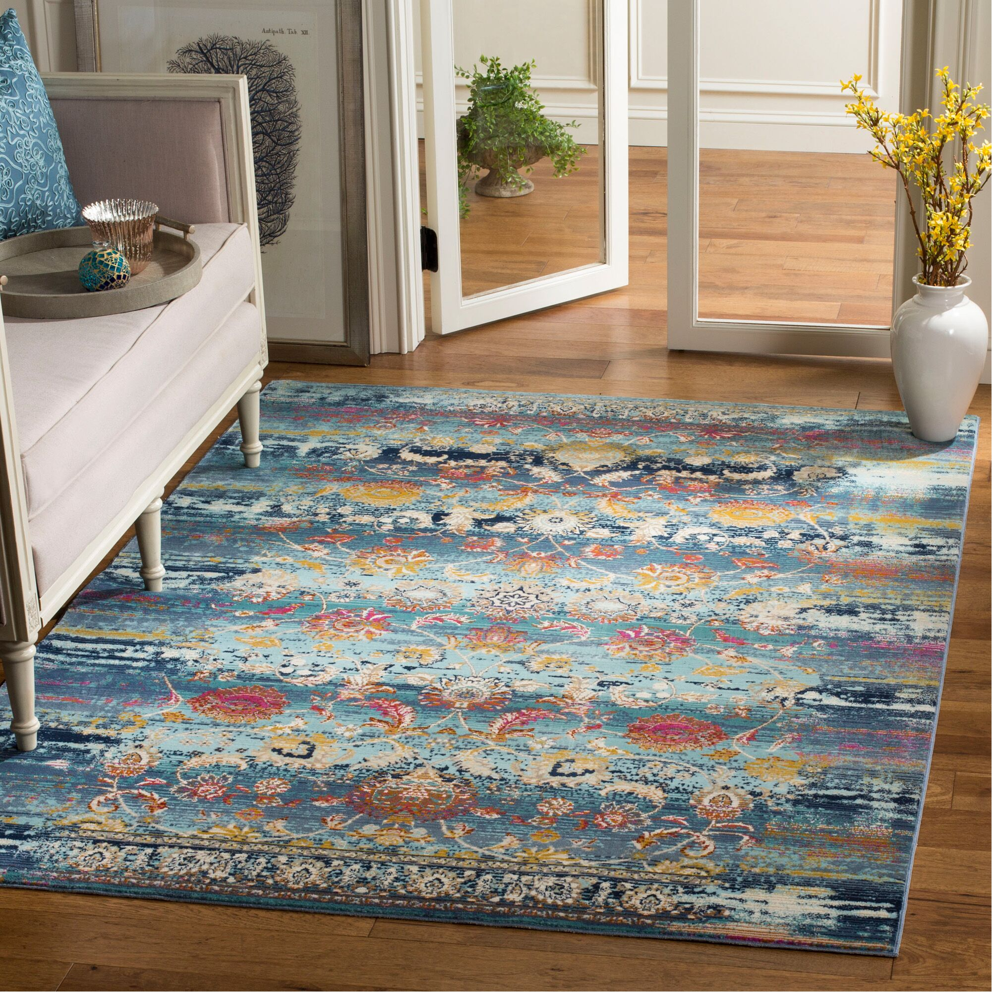 Tolleson Teal Area Rug Rug Size: Rectangle 8' x 10'