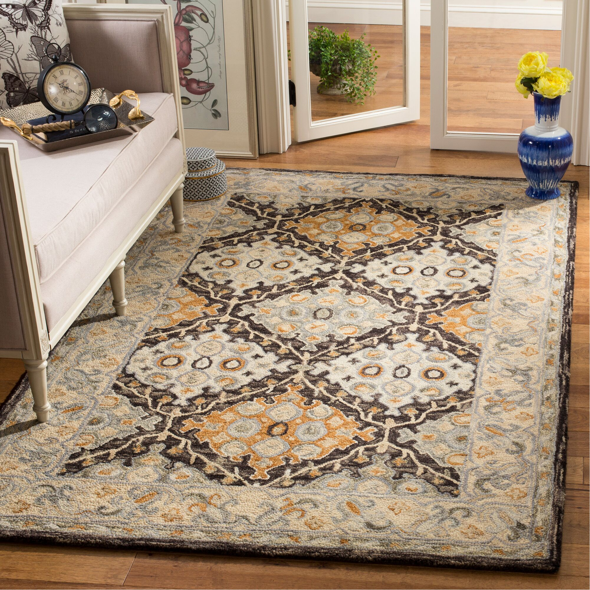Garvin Hand-Tufted Wool Beige/Brown Area Rug Rug Size: Rectangle 4' x 6'