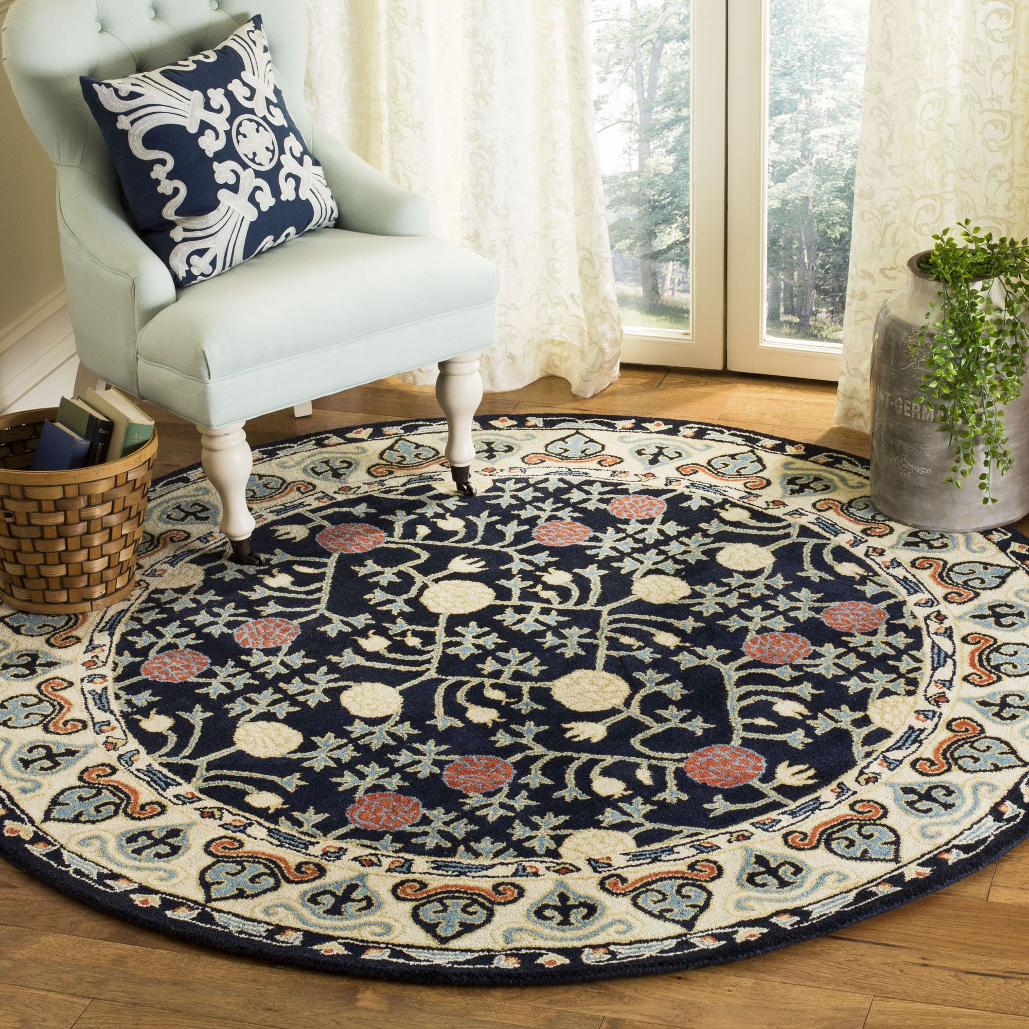 Moss Hand Tufted Wool Navy Area Rug Rug Size: Round6'