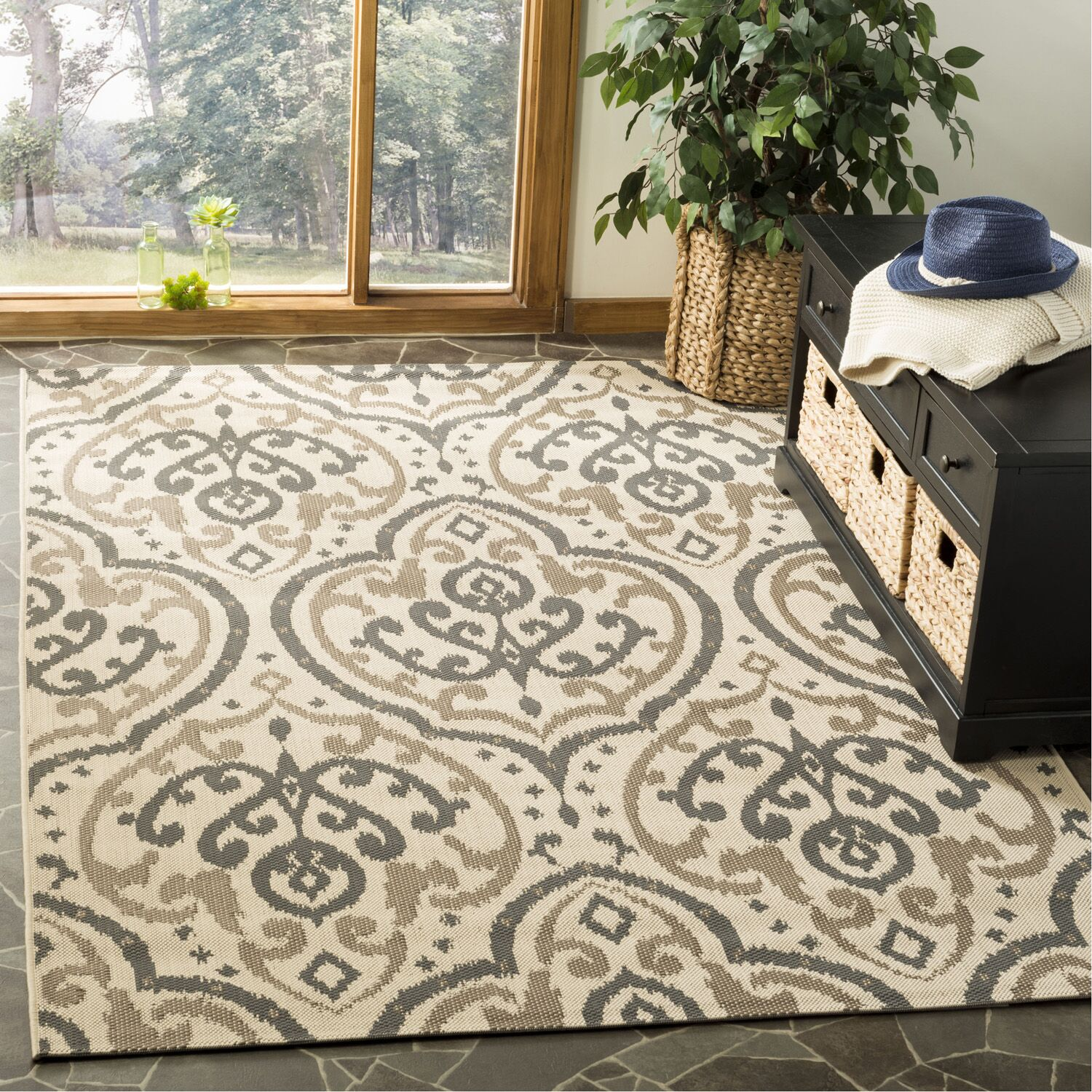 Fairview Beige/Anthracite Area Rug Rug Size: Rectangle 5'3