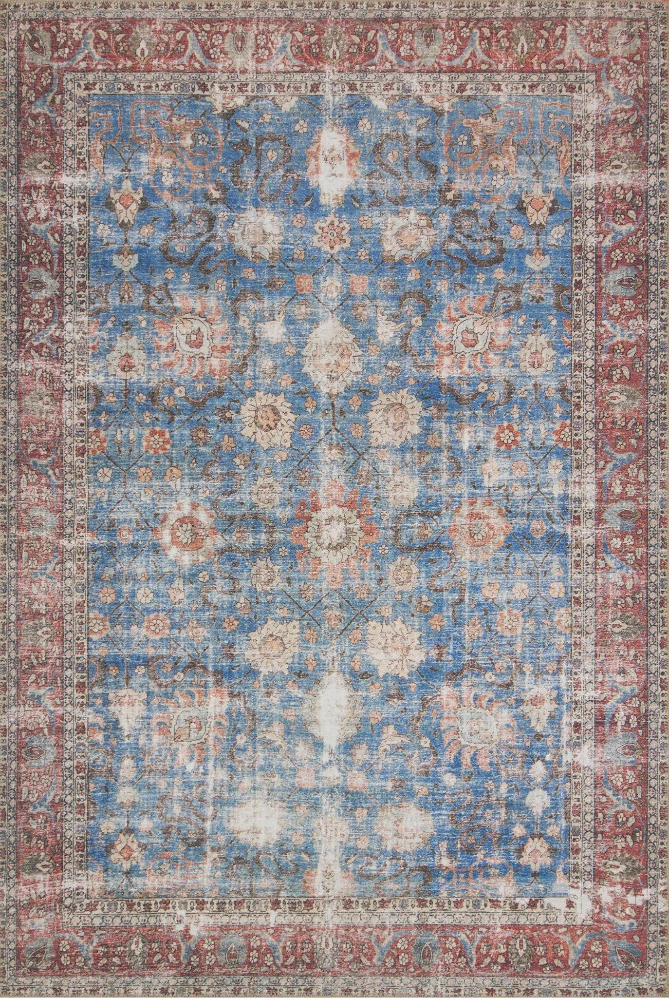 Adele Blue/Brick Area Rug Rug Size: Rectangle 8'4