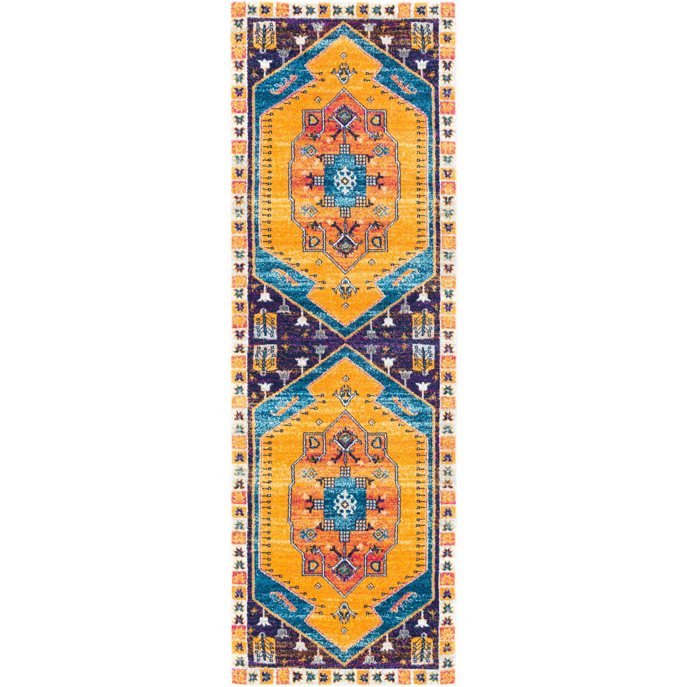Dunphy Yellow/Purple Area Rug Rug Size: Runner 2'8