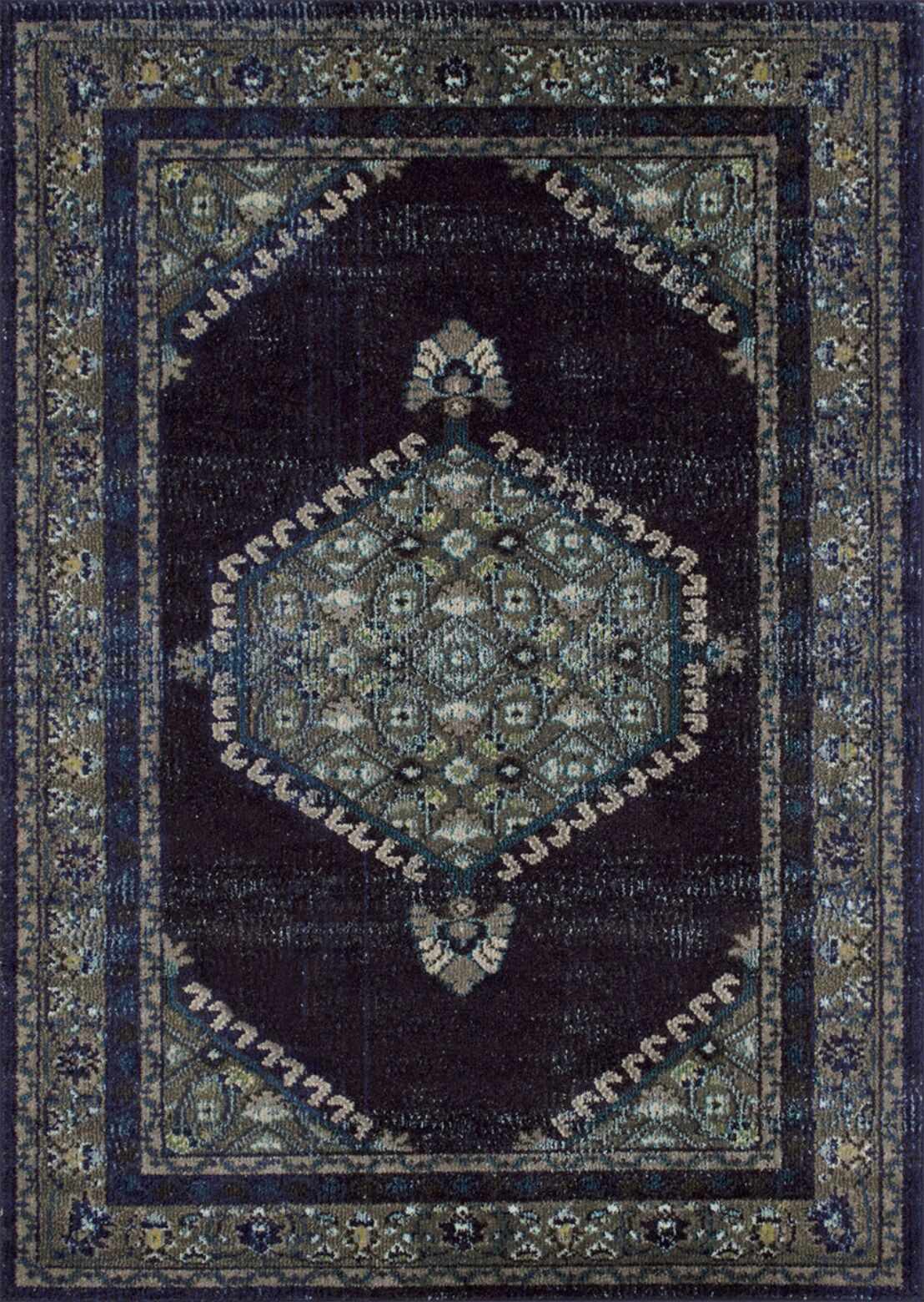 Feldmann Persian Inspired Espresso/Blue Area Rug Rug Size: Rectangle 8' x 10'