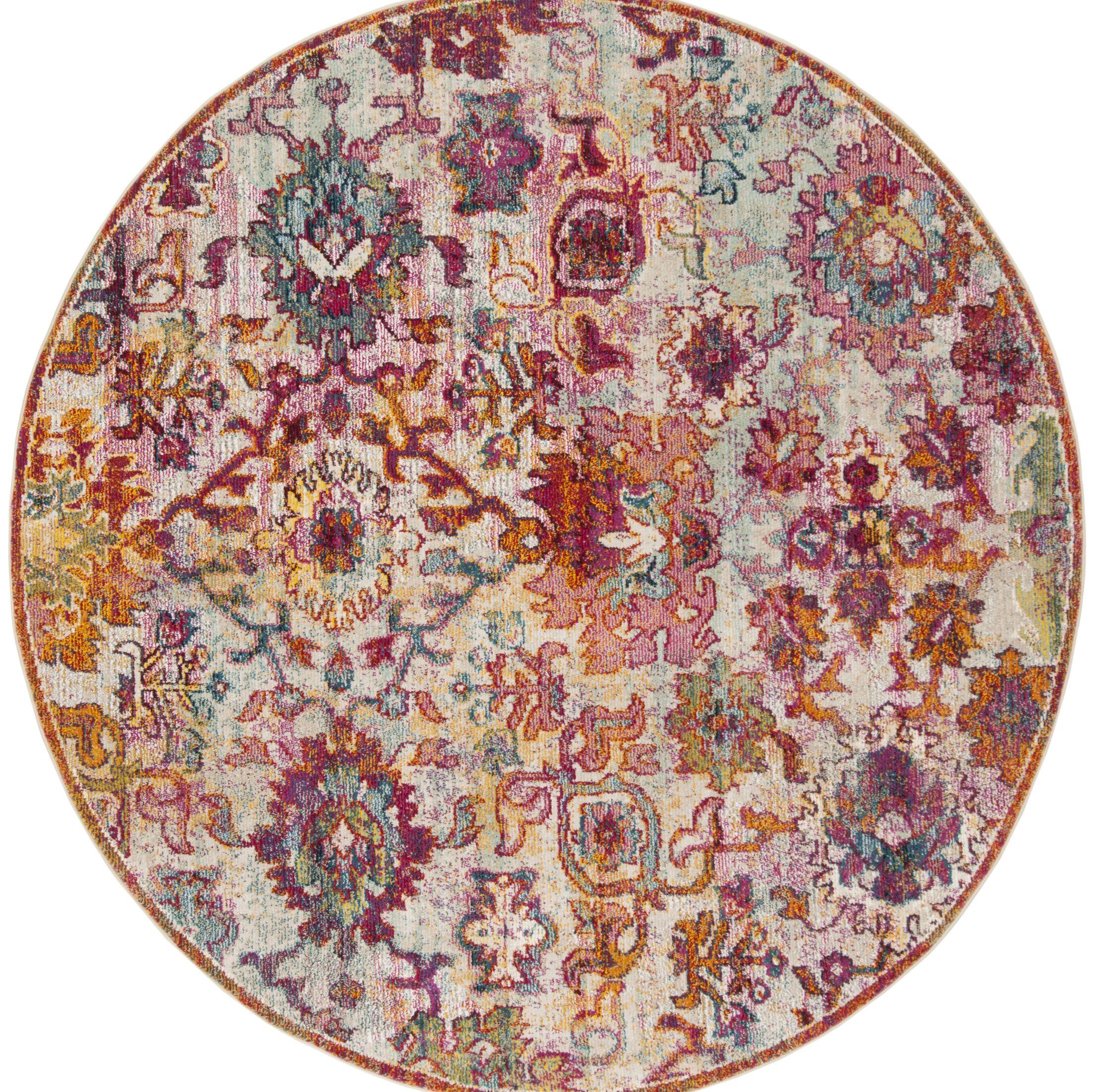 Mcintosh Purple/Orange Area Rug Rug Size: Round 7'