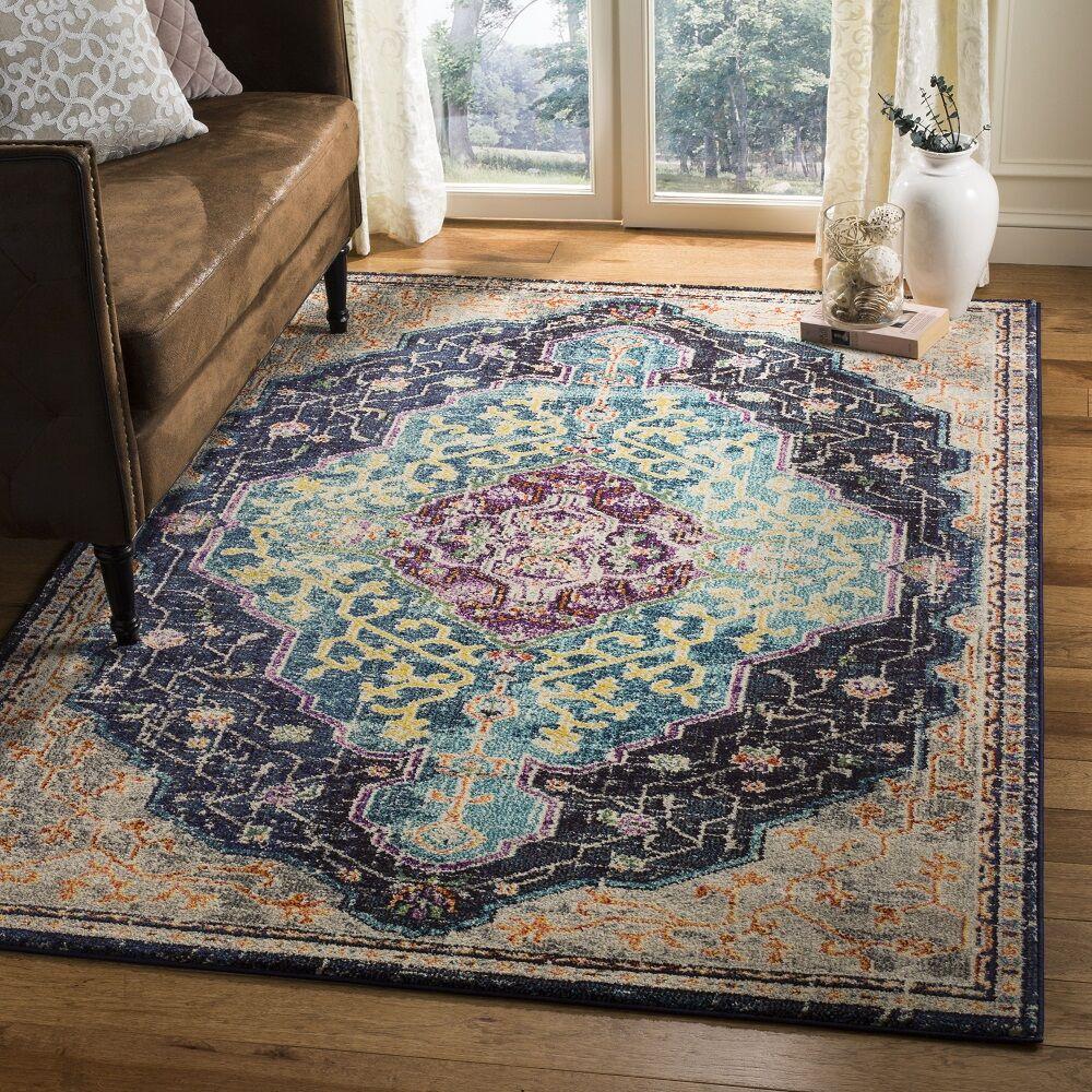 Hammondale Black/Blue Area Rug Rug Size: Rectangle 4' x 5'7