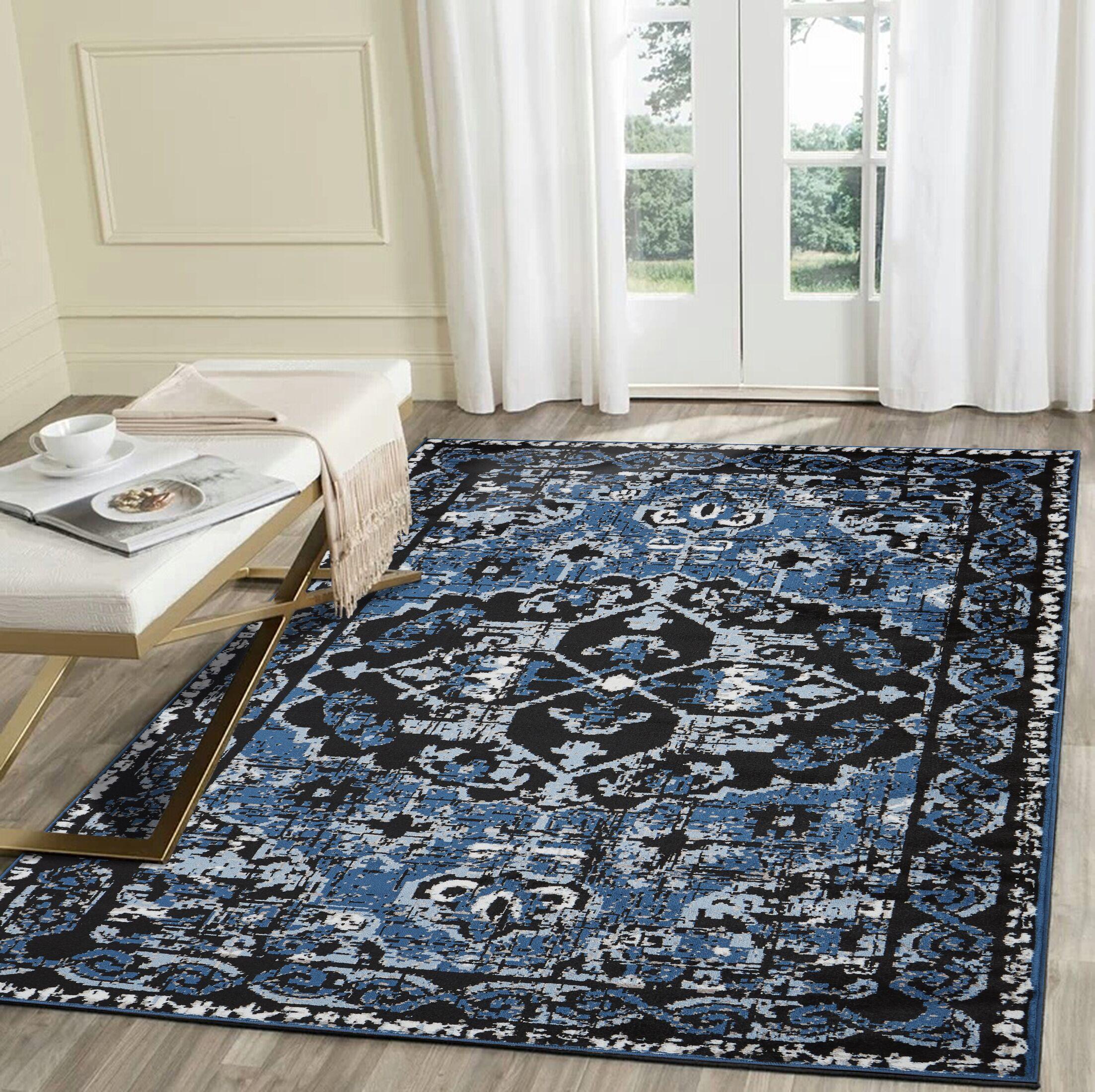 Apsel Black/Spa Blue Area Rug Rug Size: Rectangle 7'9