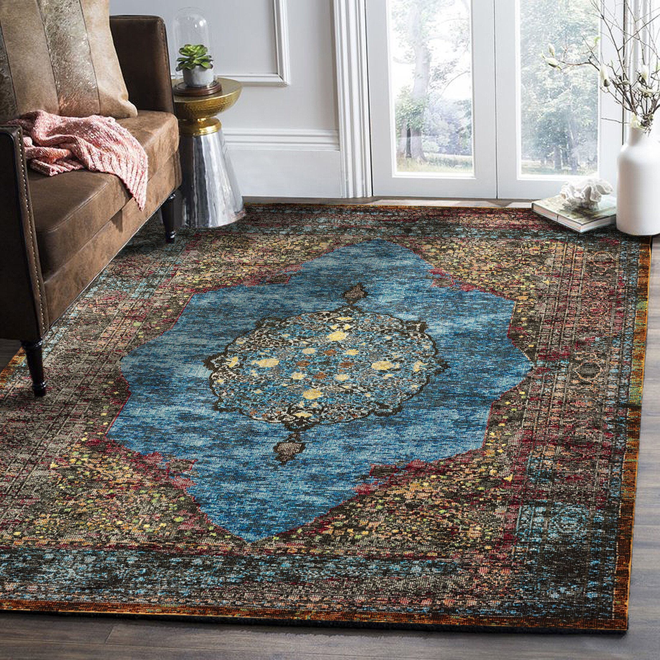 Amory Brown/Blue Area Rug Rug Size: Rectangle 5' x 8'