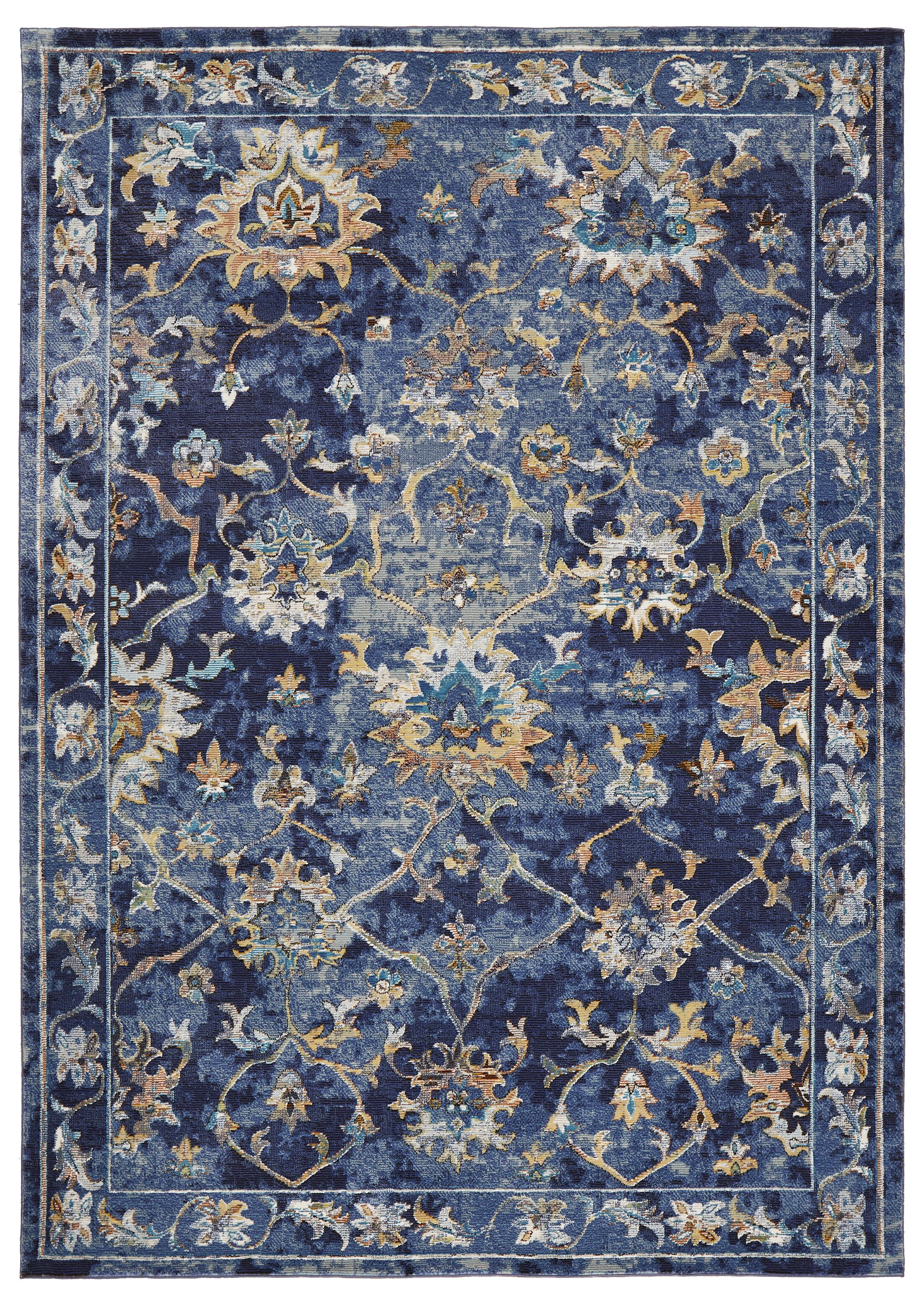 Amory Contemporary Jacobean Blue Area Rug Rug Size: Rectangle 4' x 6'