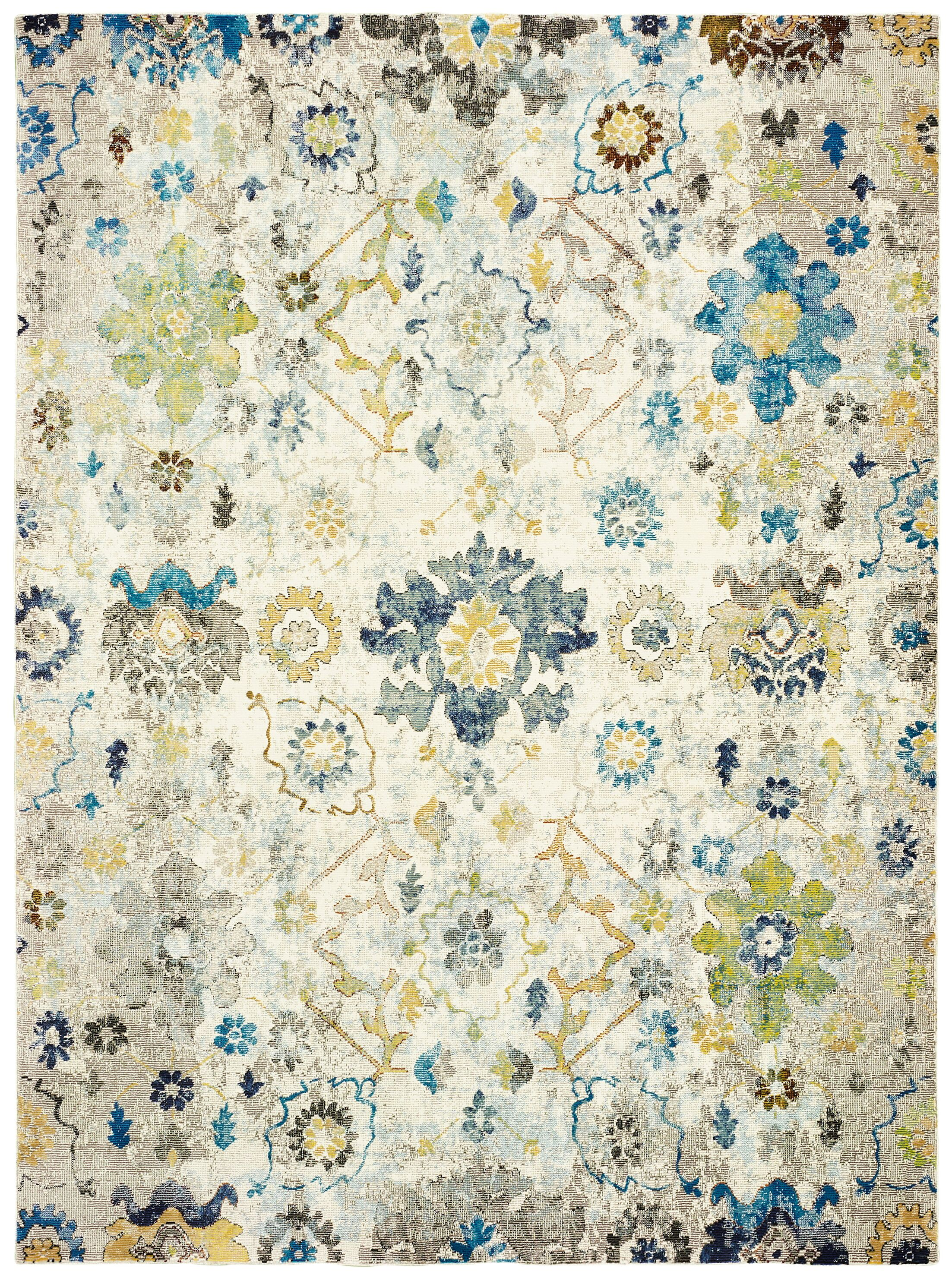 Amory Distressed Botanical Cream/Gray/Blue Area Rug Rug Size: Rectangle 8' x 10'