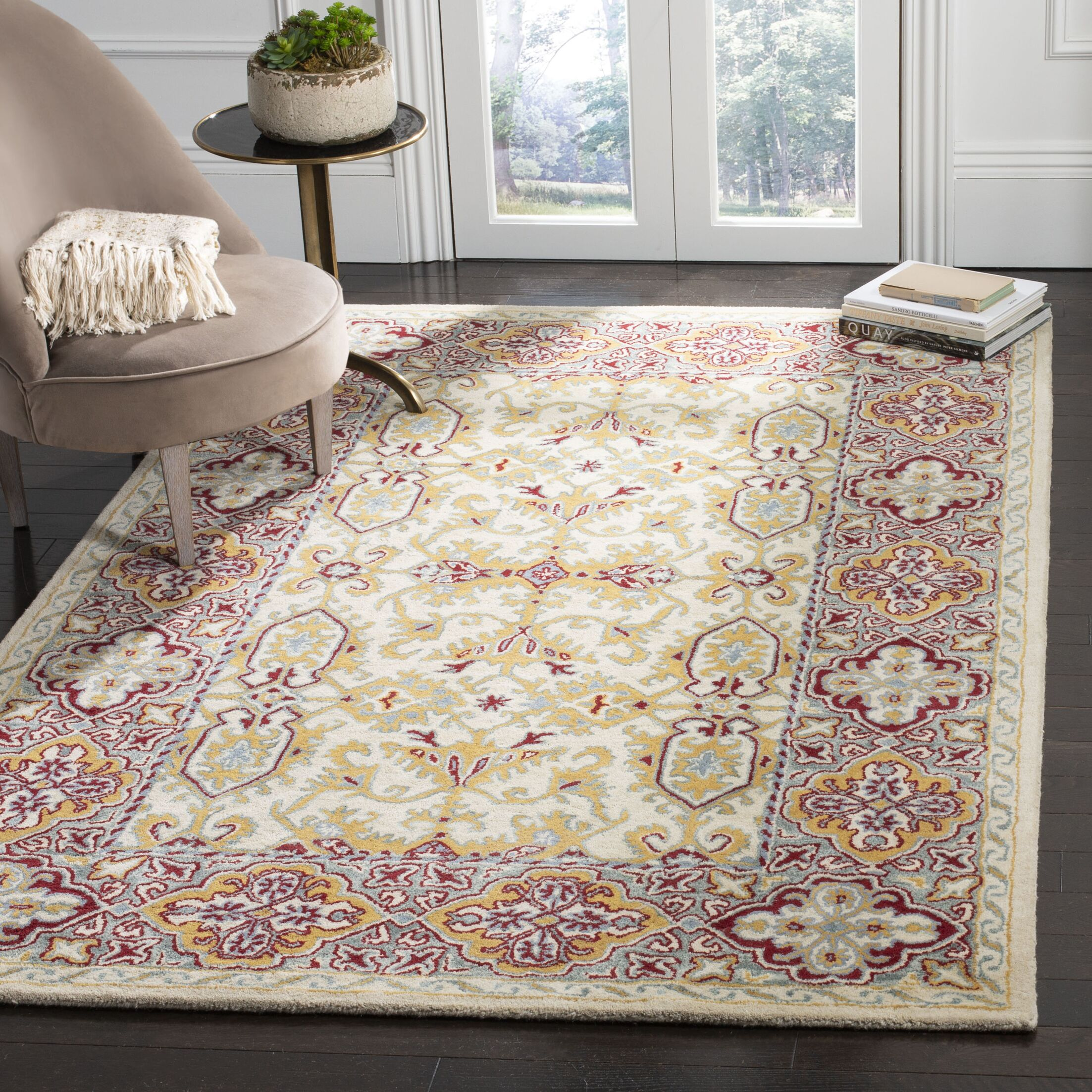 Moss Hand Tufted Wool Ivory Area Rug Rug Size: Rectangle 5' x 8'