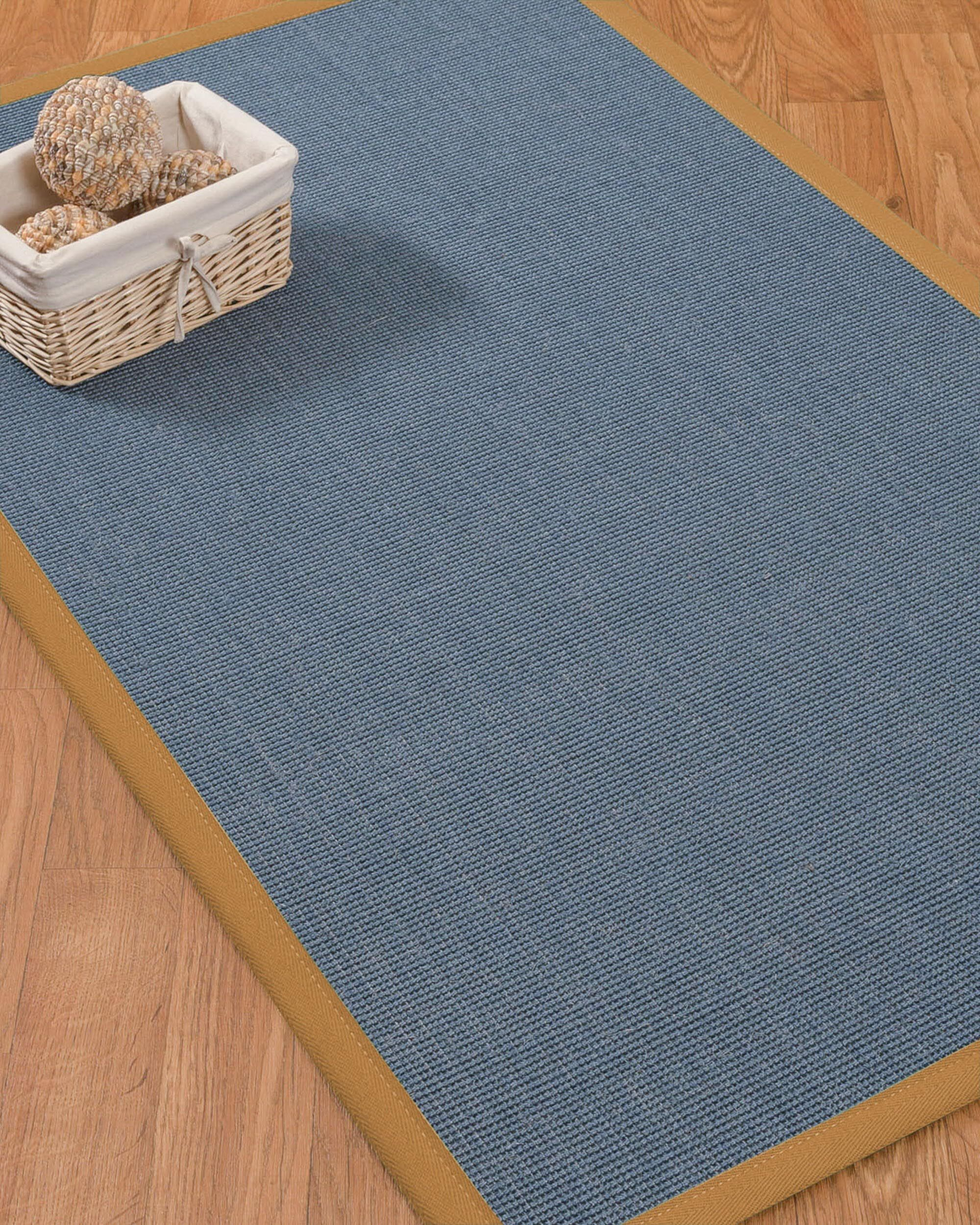 Ivy Border Hand-Woven Gray/Khaki Area Rug Rug Size: Rectangle 6' x 9', Rug Pad Included: Yes