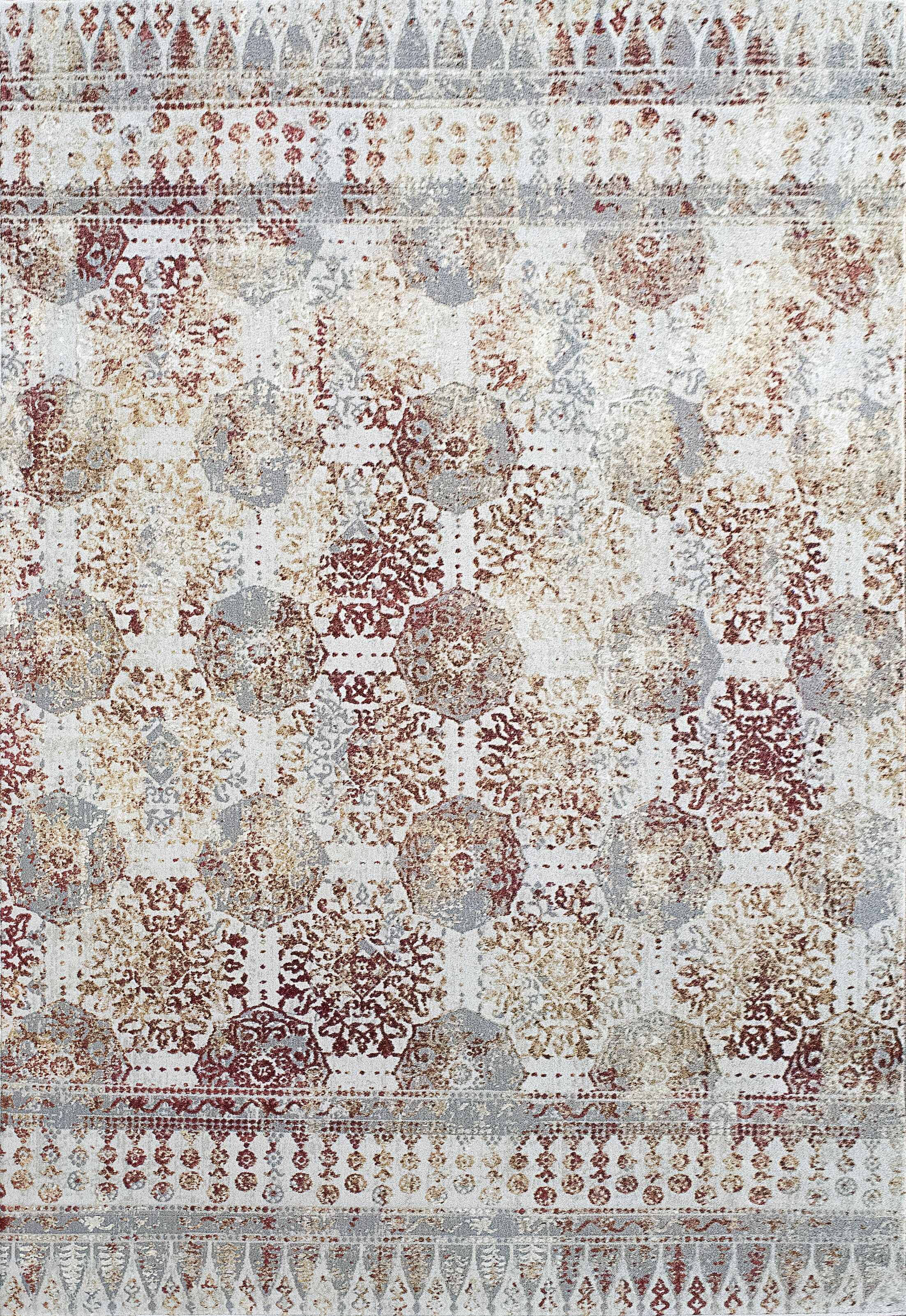 Lehigh Gray/Beige/Red Area Rug Rug Size: Rectangle 5'3