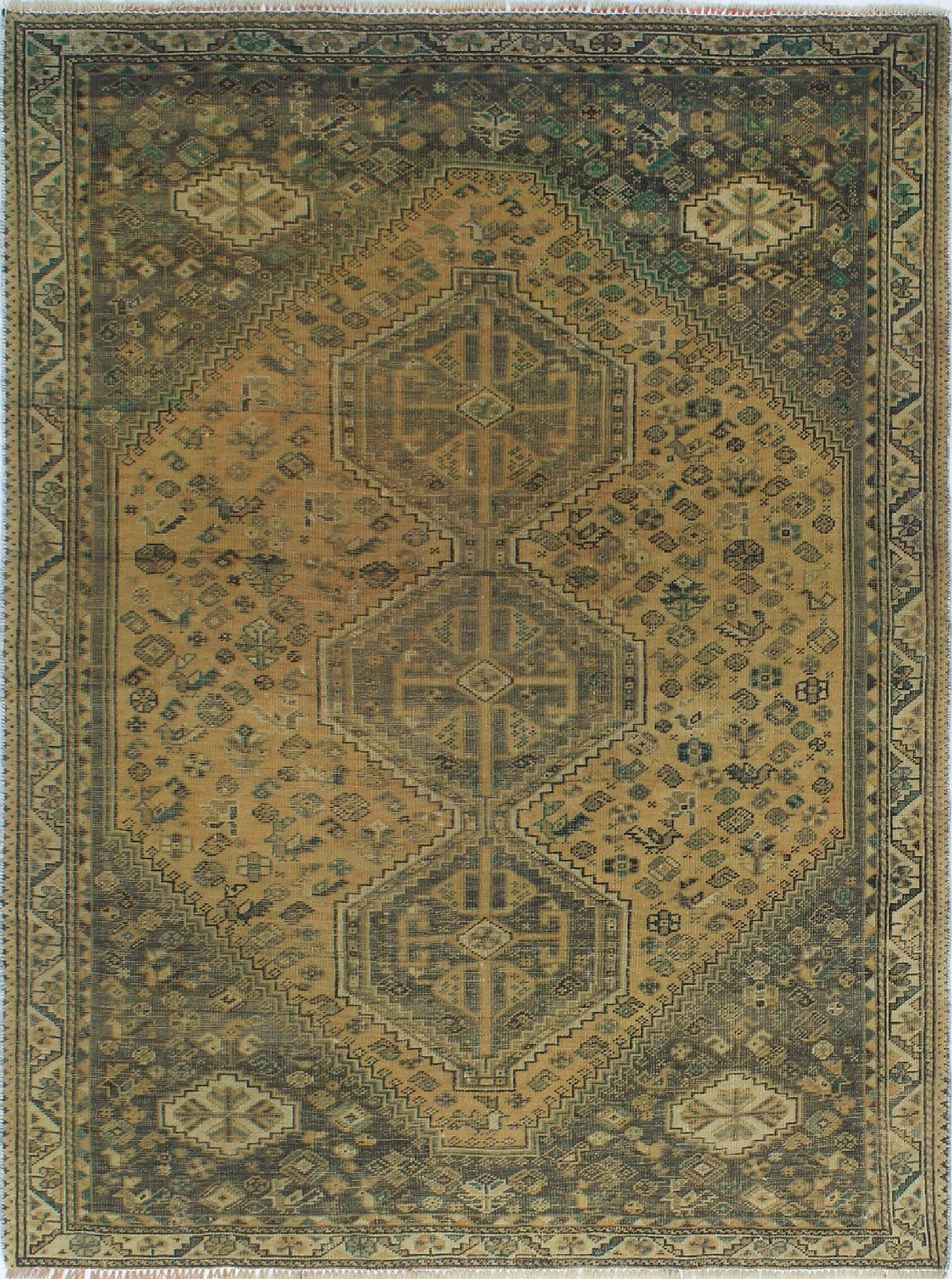 One-of-a-Kind Brook Semi Antique Hand-Knotted Wool Brown/Green Area Rug