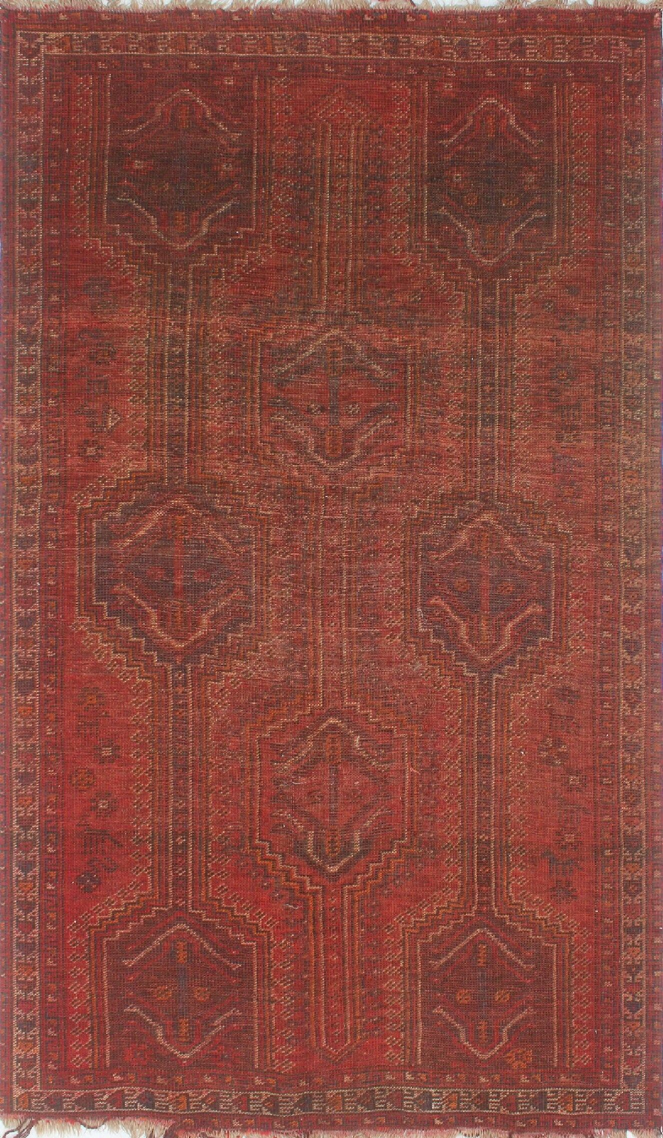 One-of-a-Kind Millay Bukhtiari Hand-Knotted Wool Red Are Rug