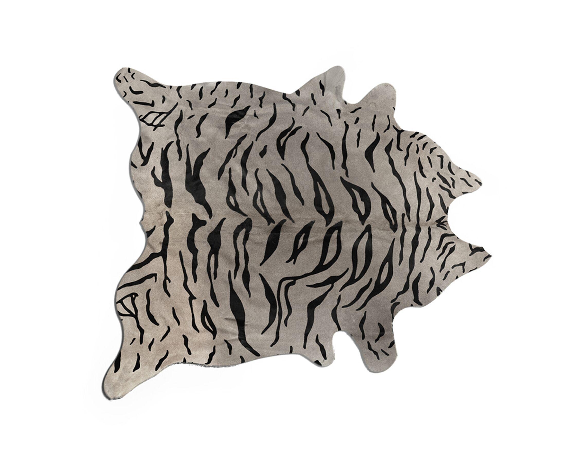 Kronborg Hand-Woven Cowhide Black/Gray Area Rug Rug Size: 6' X 7'
