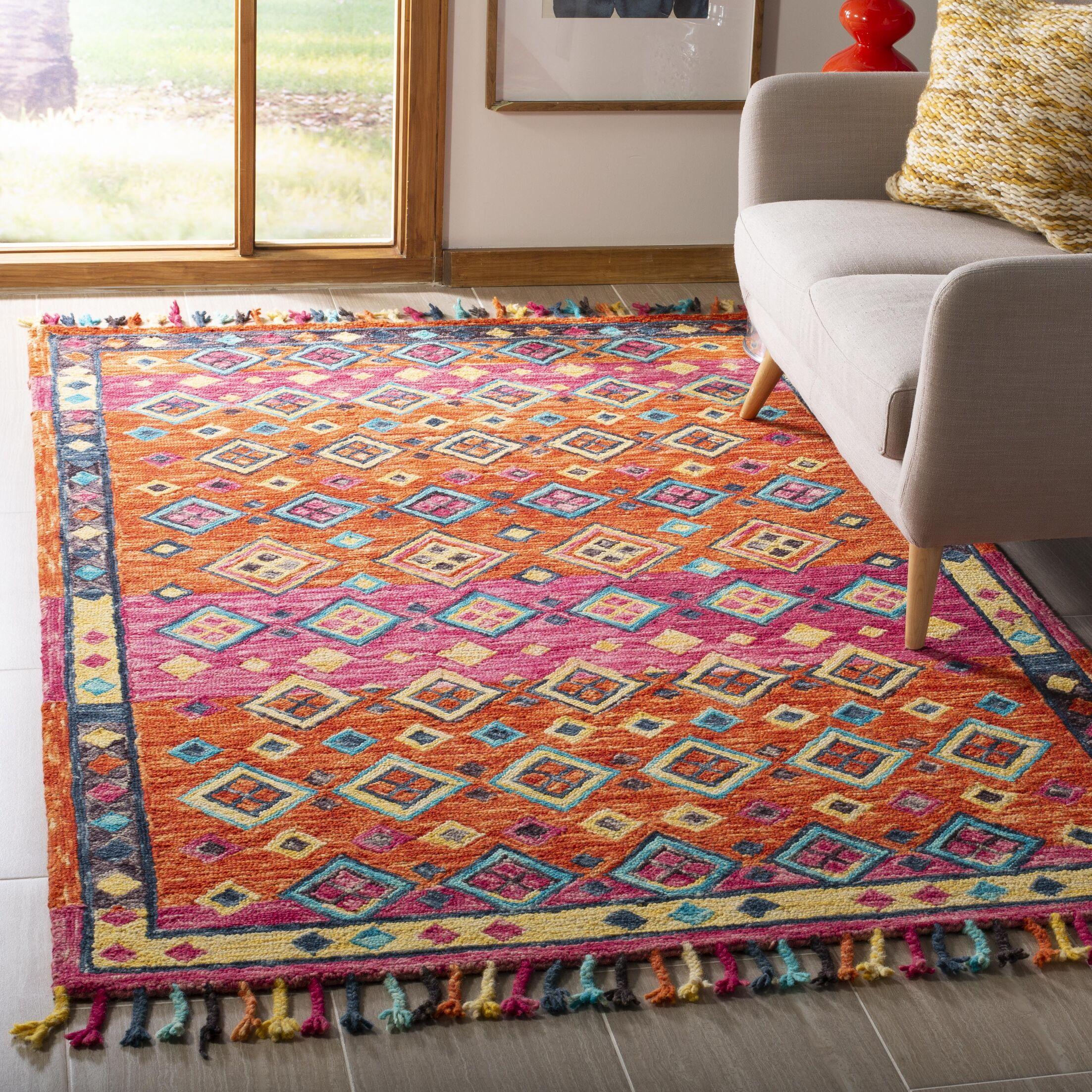 Sharo Hand-Tufted Wool Orange Area Rug Rug Size: Rectangle 5' x 8'