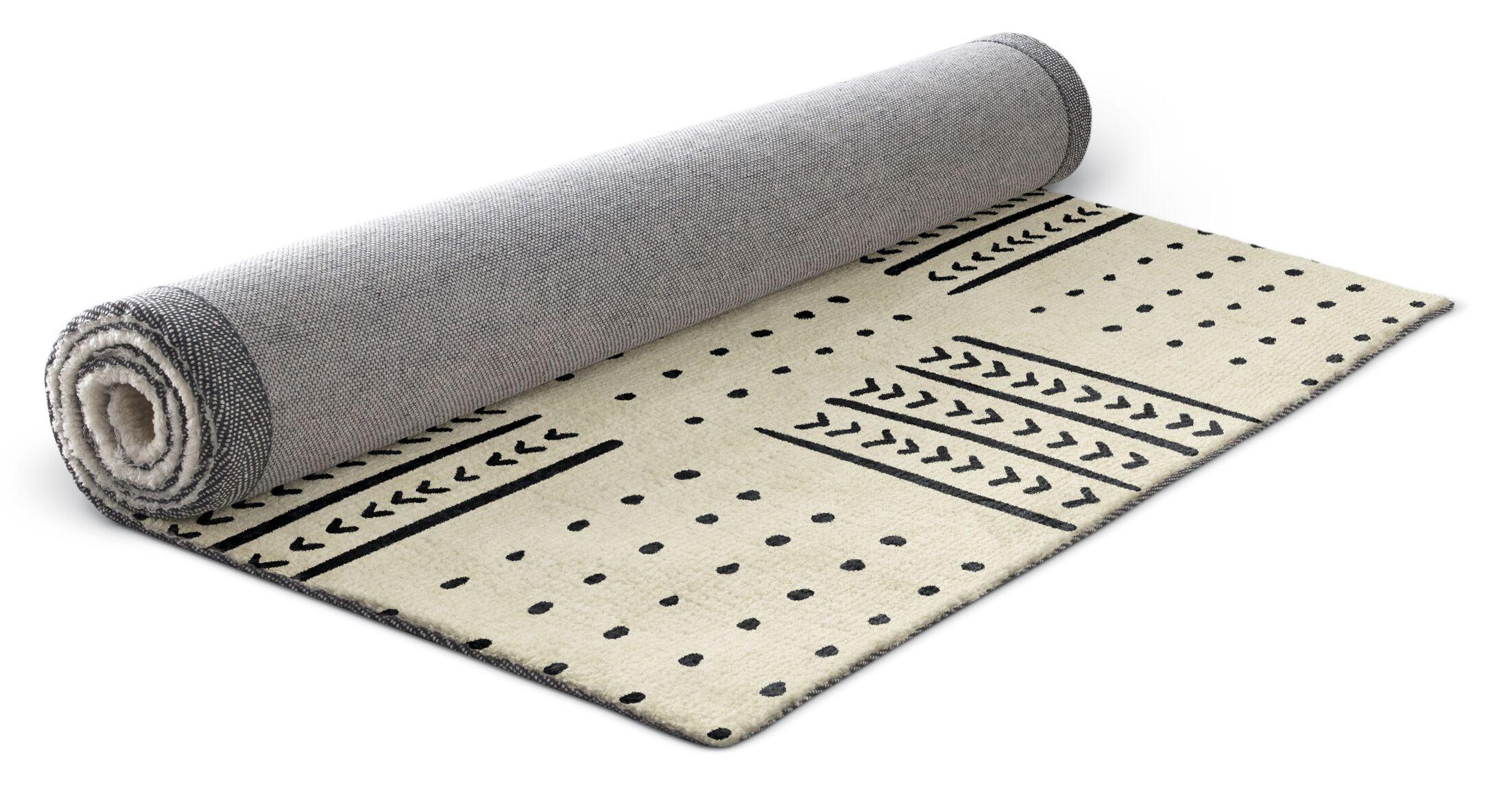 Geometric Ivory/Black Area Rug Rug Size: Rectangle 3' x 5'