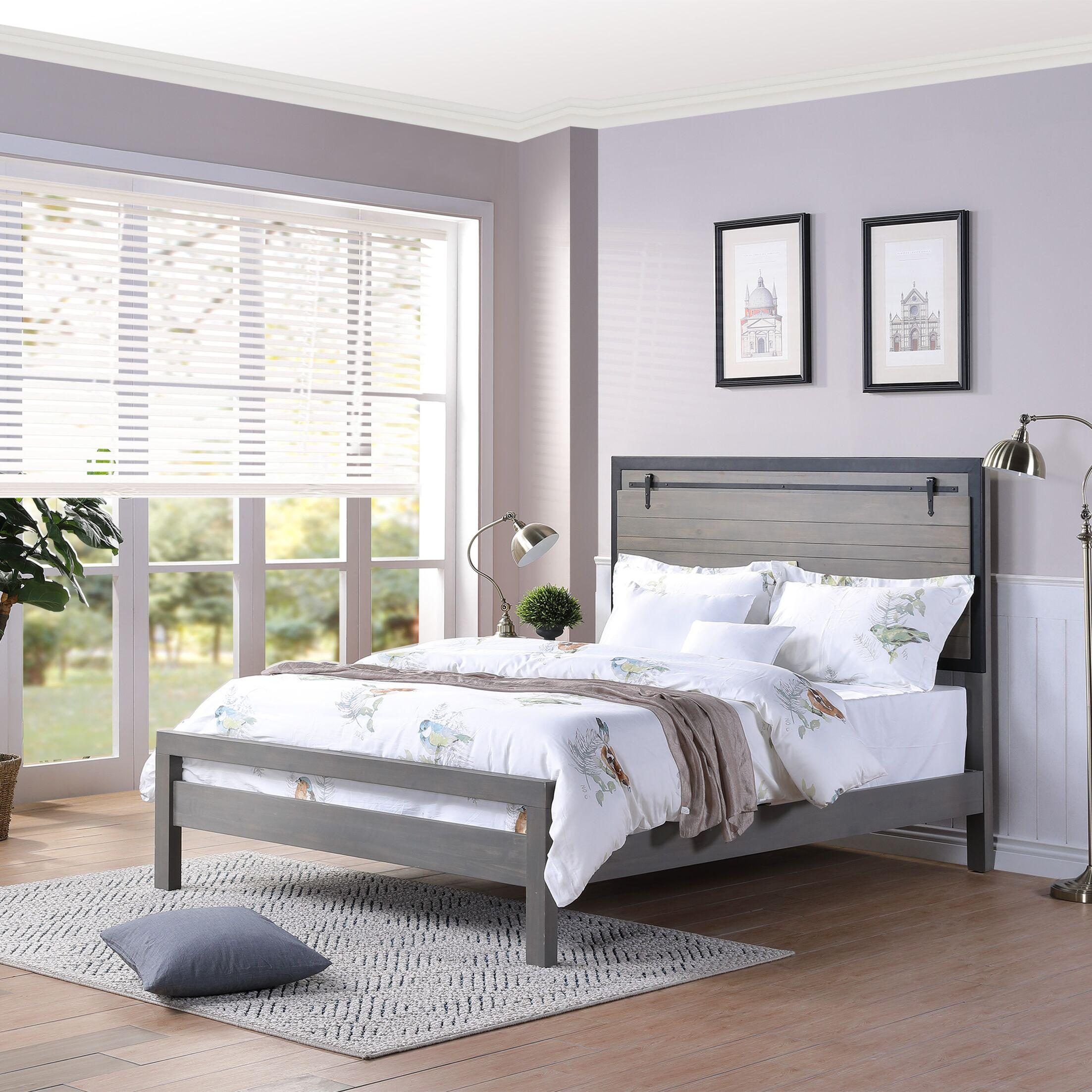 Alpert Bed frame Color: Gray and Black