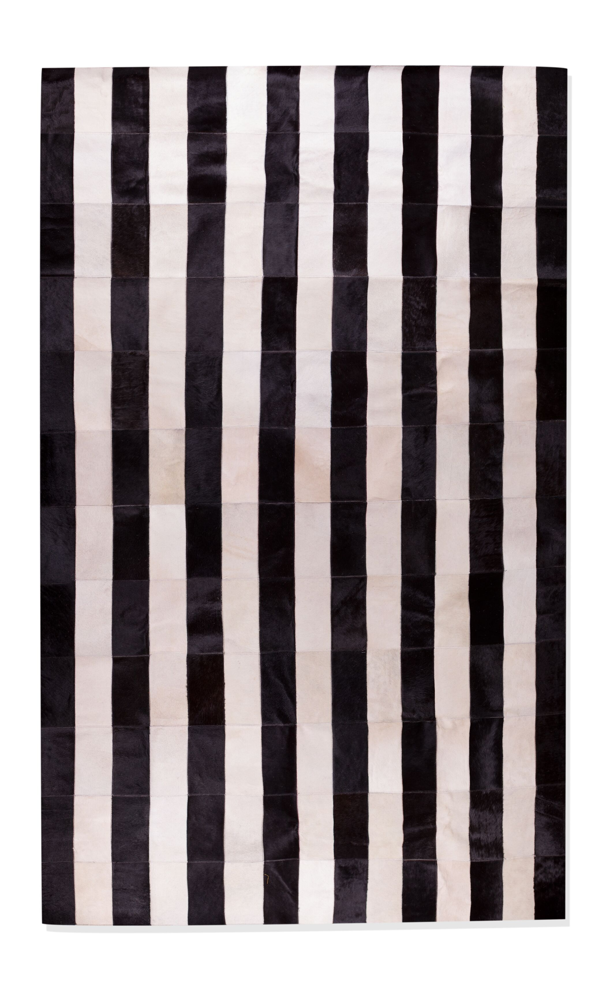 Darshan Stitch Striped Hand-Woven Cowhide Black/White Area Rug Rug Size: Rectangle 5' x 8'
