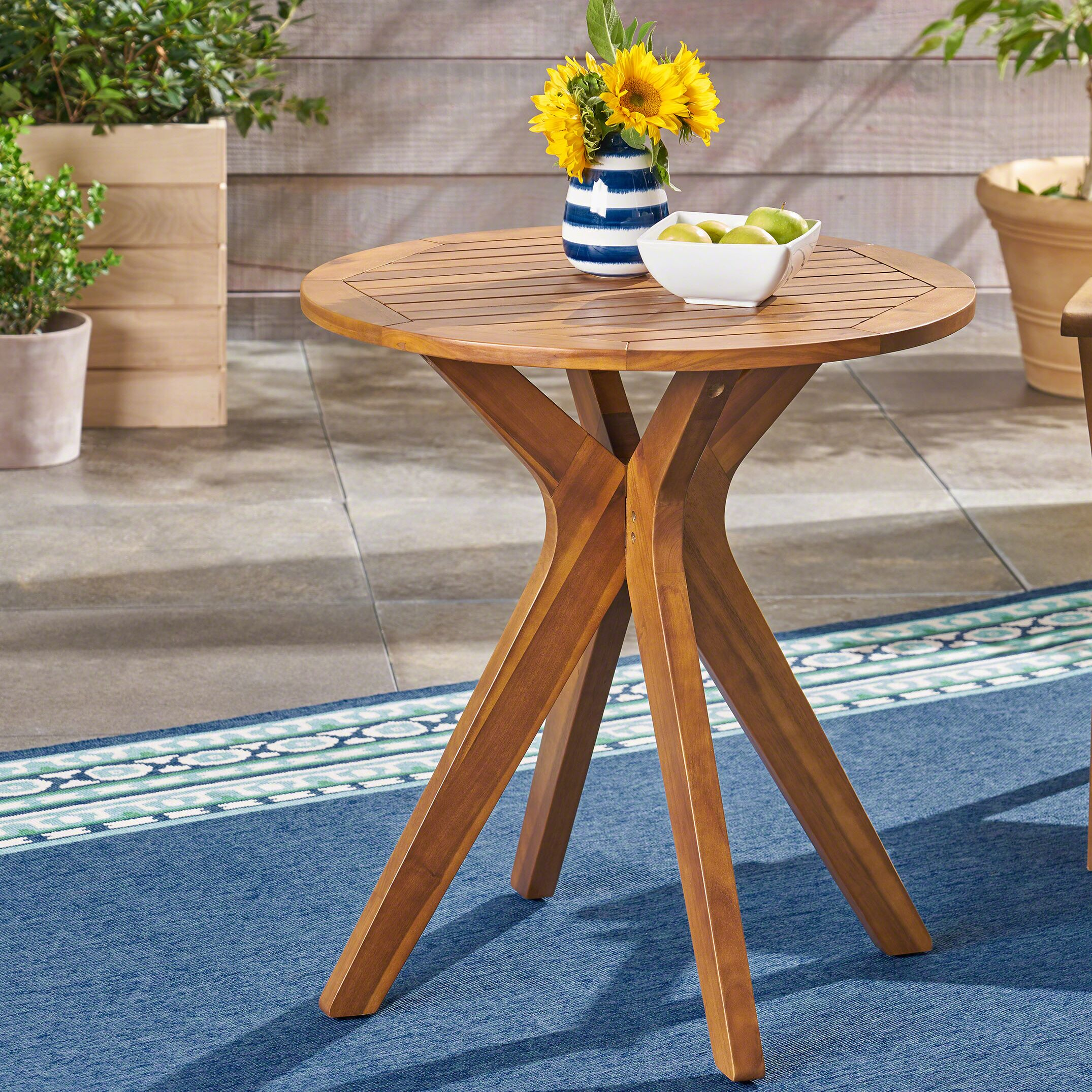 Pericles Outdoor Wooden Bistro Table Color: Teak