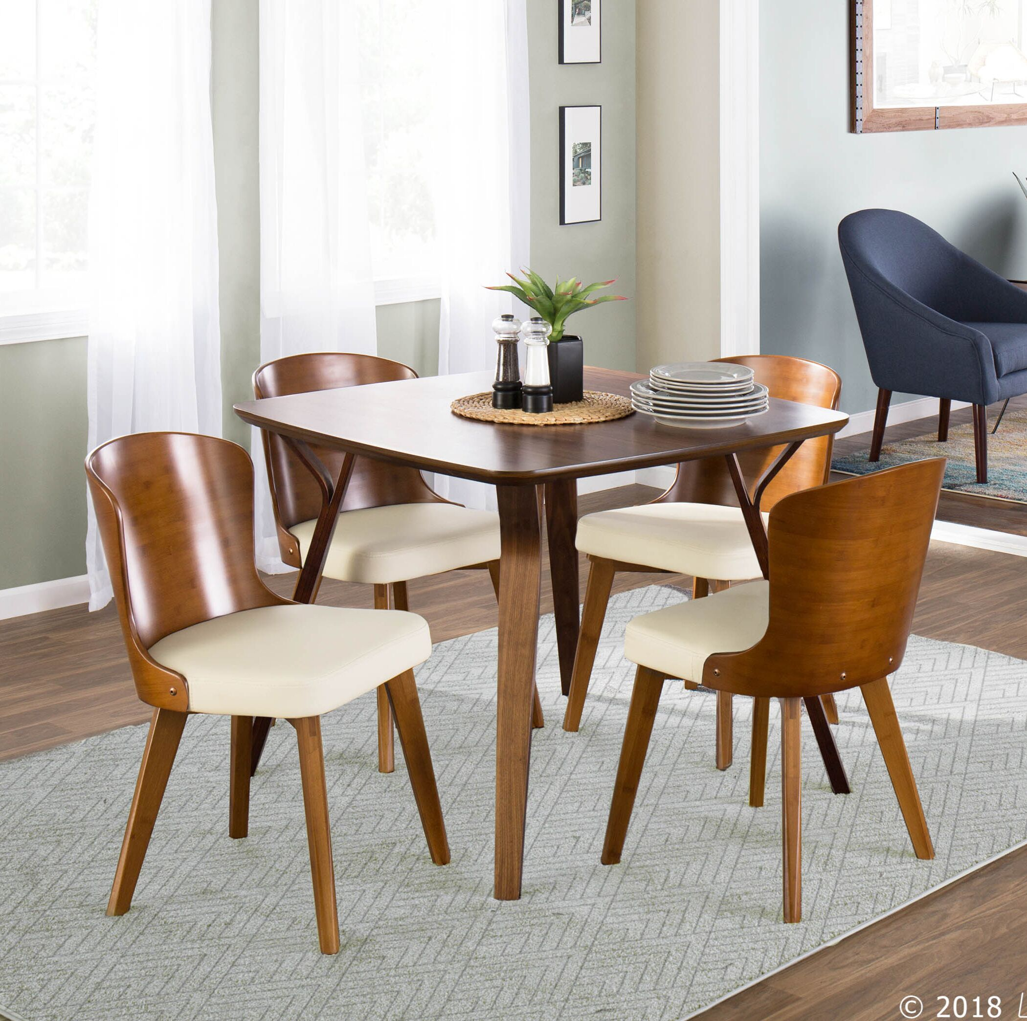 Kristofer Upholstered Dining Chair Upholstery Color: Cream