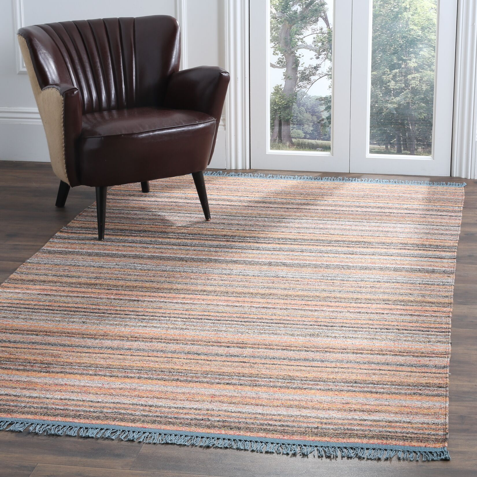 Sojourn Hand-Woven Orange/Blue Area Rug Rug Size: Rectangle 5' x 8'
