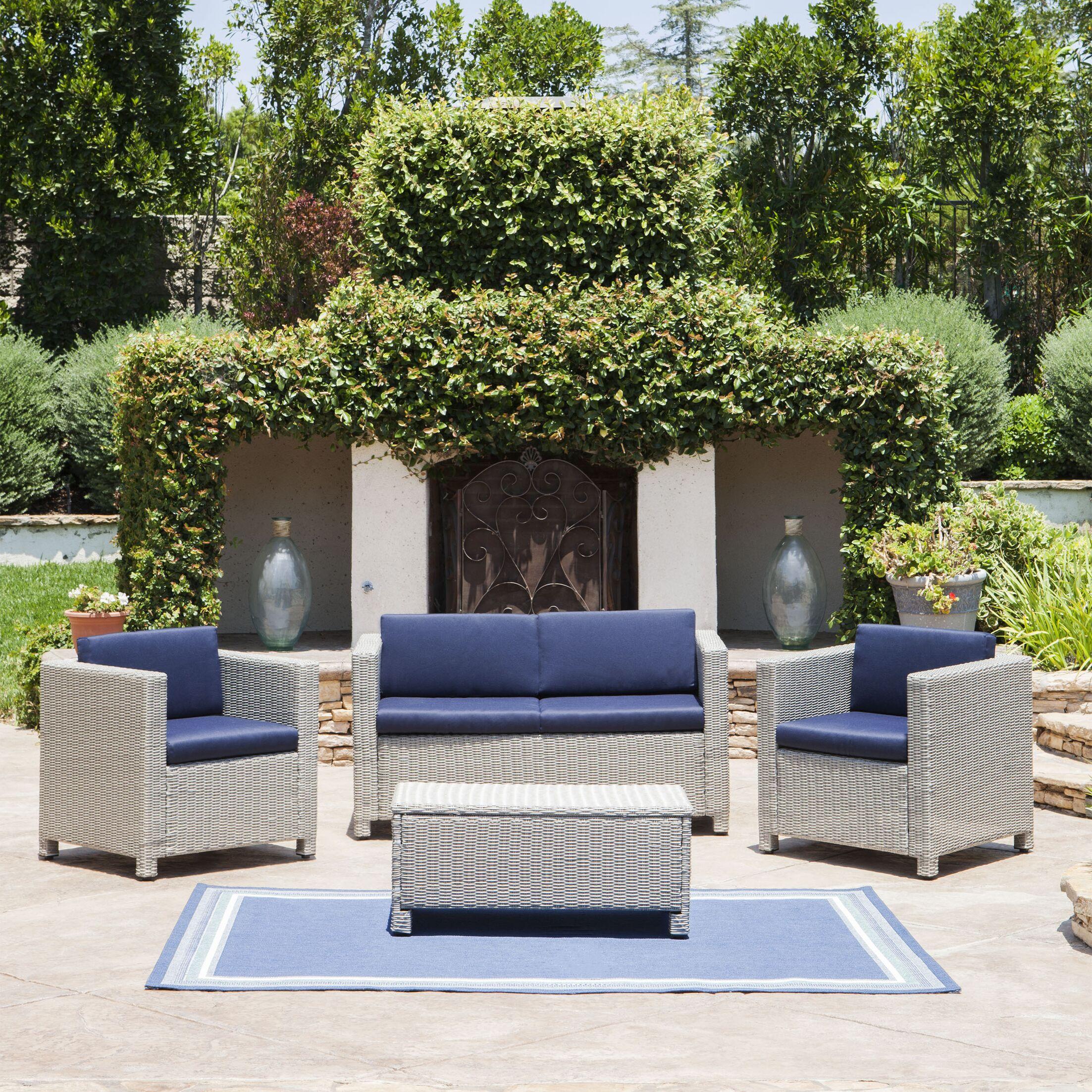 Bashir 4 Piece Sofa Set with Cushions Cushion Color: Navy Blue