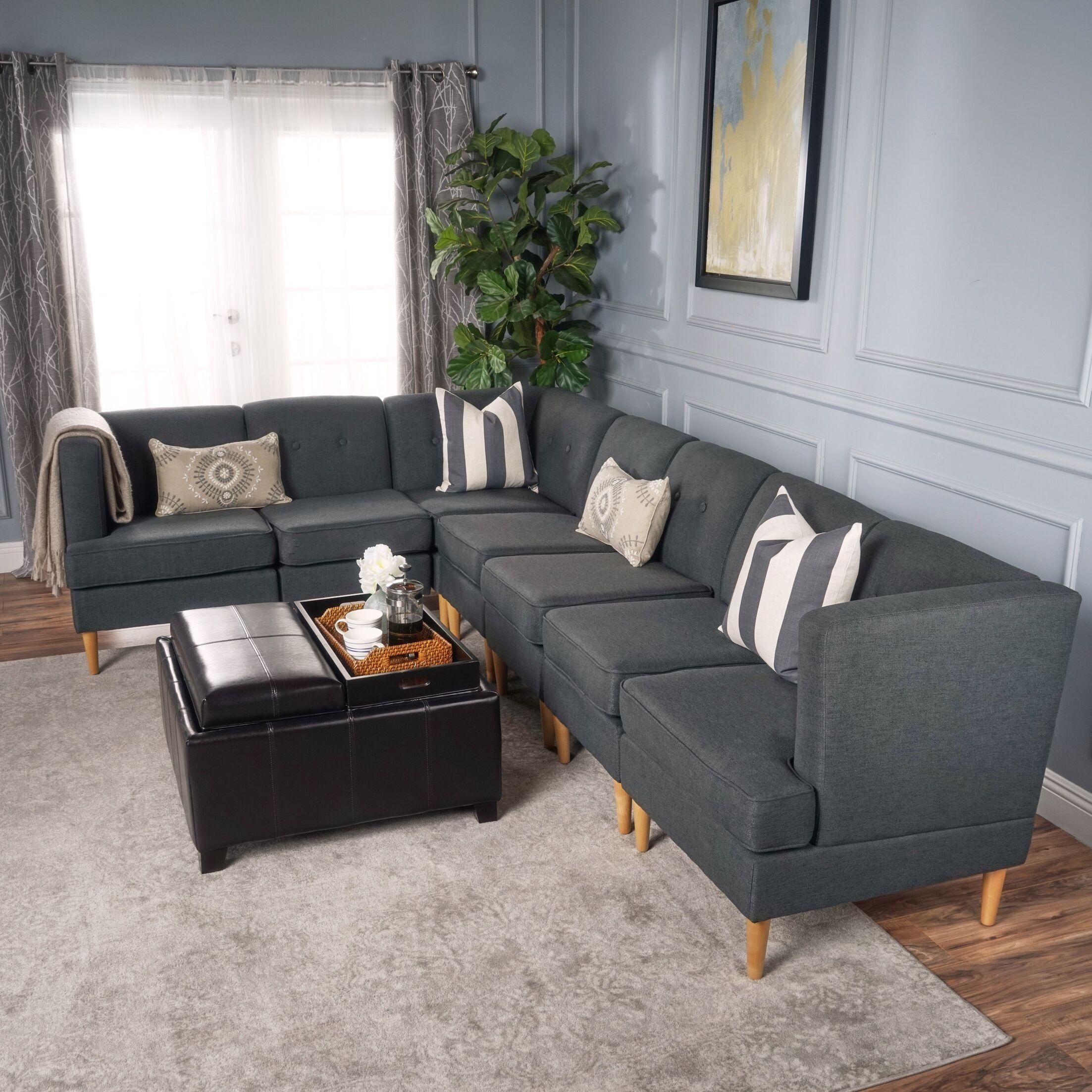 Cassady Modular Sectional Upholstery: Dark Gray