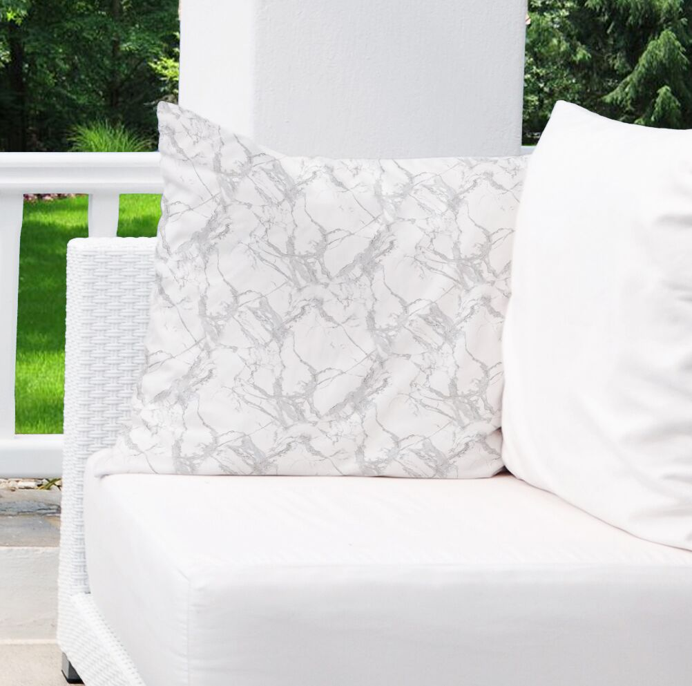 Dalessio Square Marble Outdoor Throw Pillow Size: 26