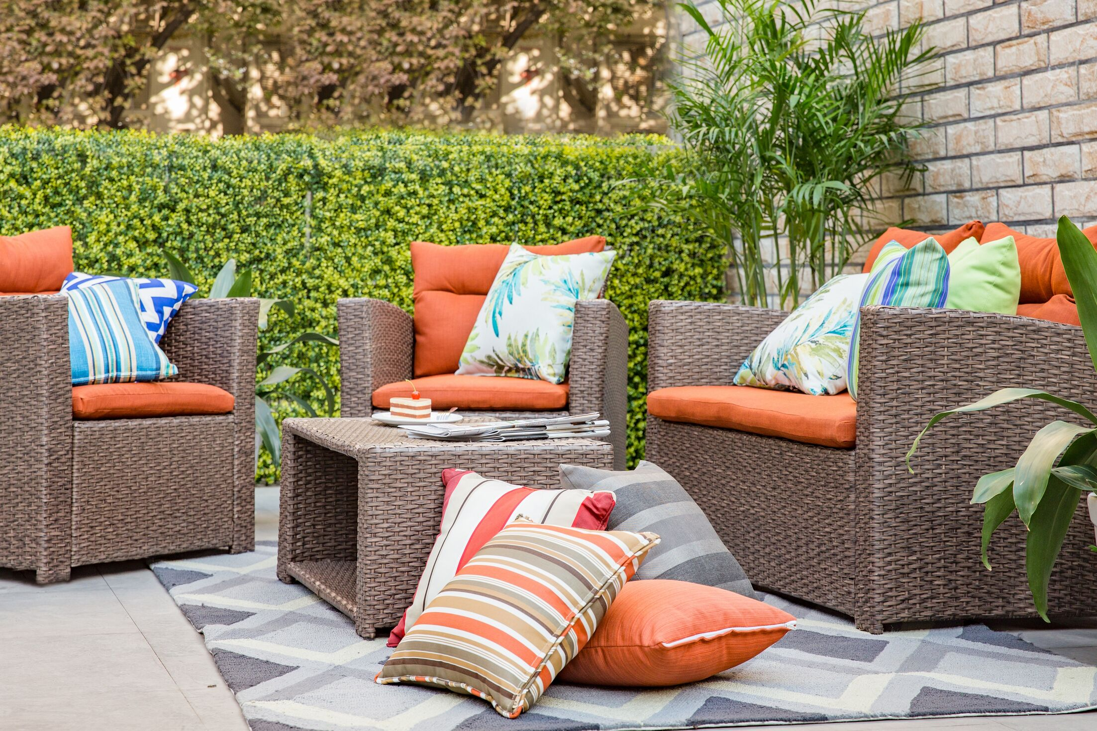 Masuda Outdoor Wicker 4 Piece Deep Seating Group with Cushions