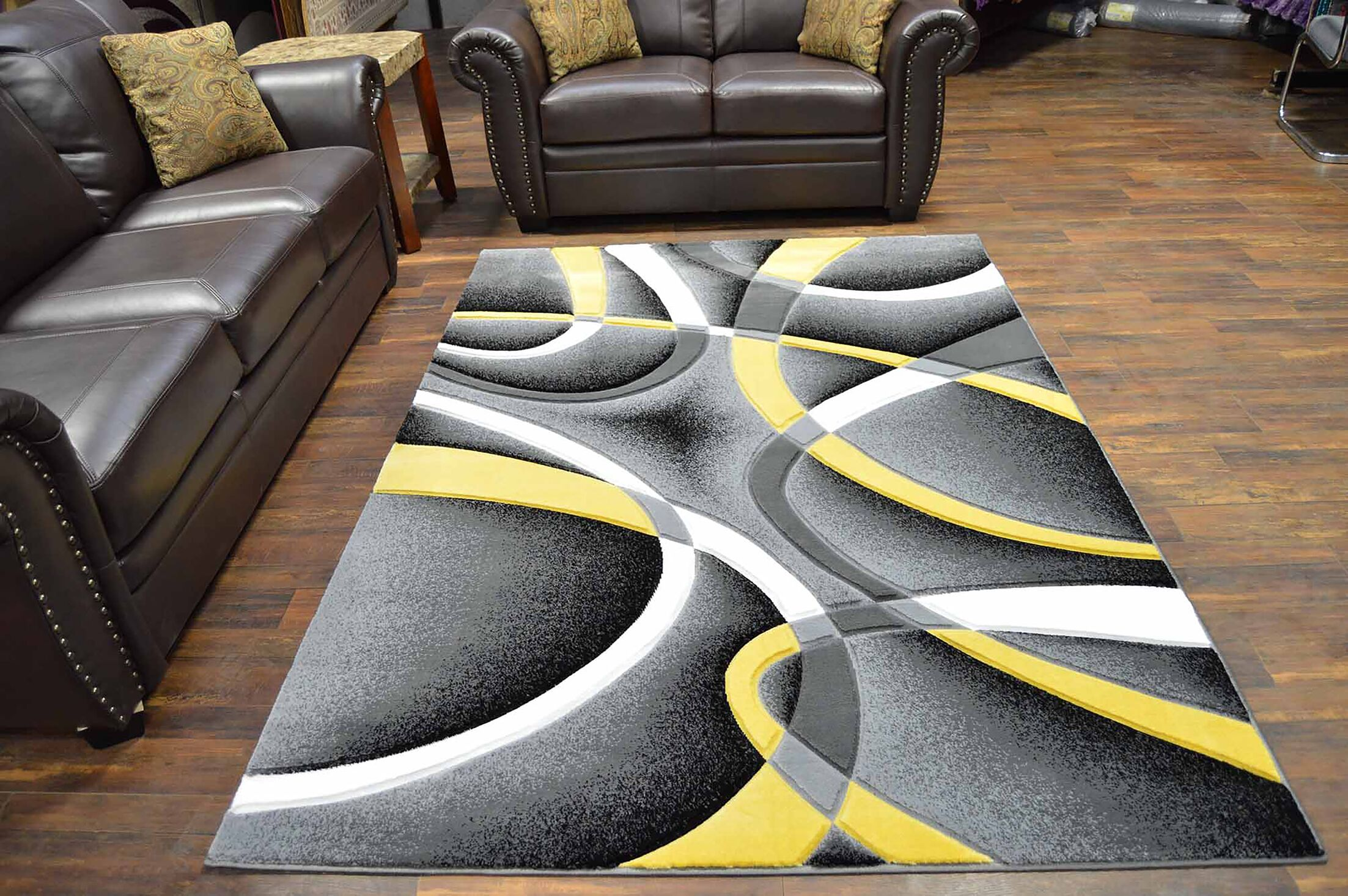 Mccampbell 3D Abstract Gray/Yellow Area Rug Rug Size: Rectangle 8' x 11'