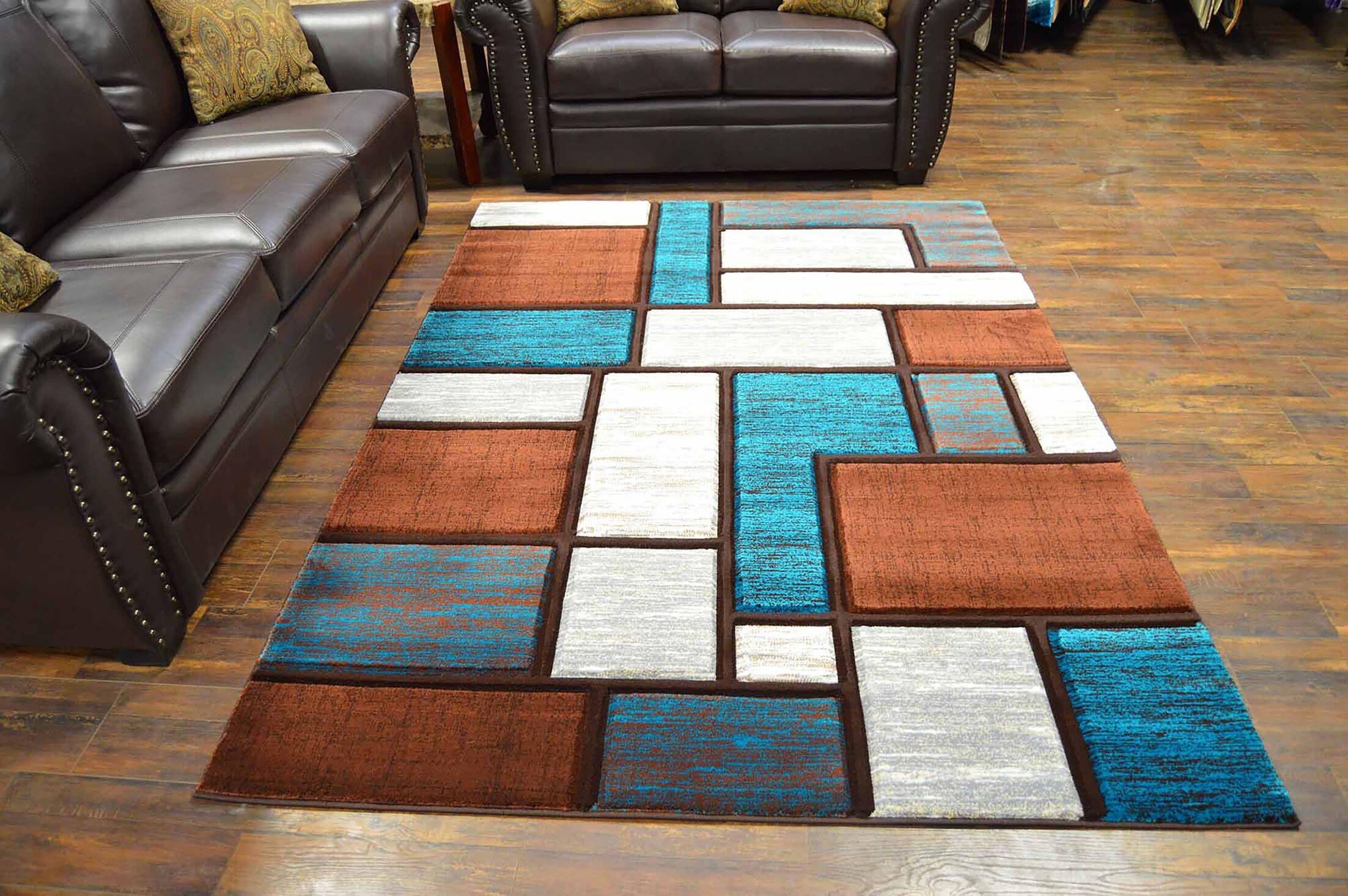 Mccampbell Blue/Brown Area Rug Rug Size: Rectangle 8' x 11'