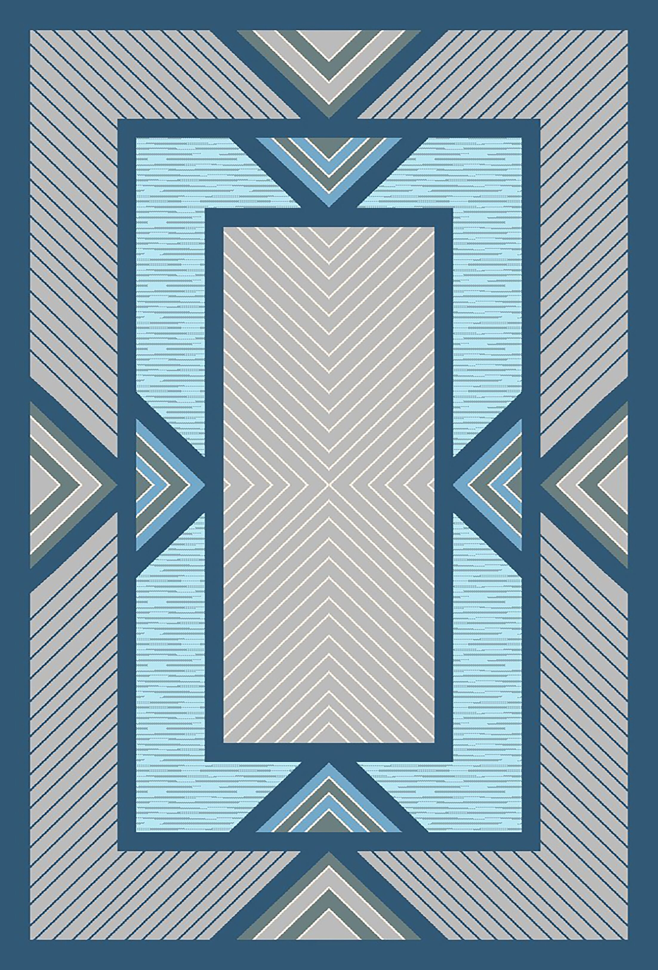 Mccampbell 3D Modern Contemporary Blue/Gray Area Rug Rug Size: Rectangle 5' x 7'